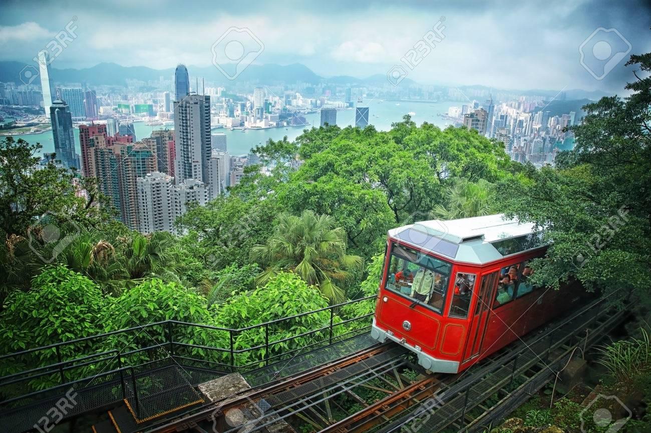 Tourist tram at the Peak, Hong Kong - 29796099