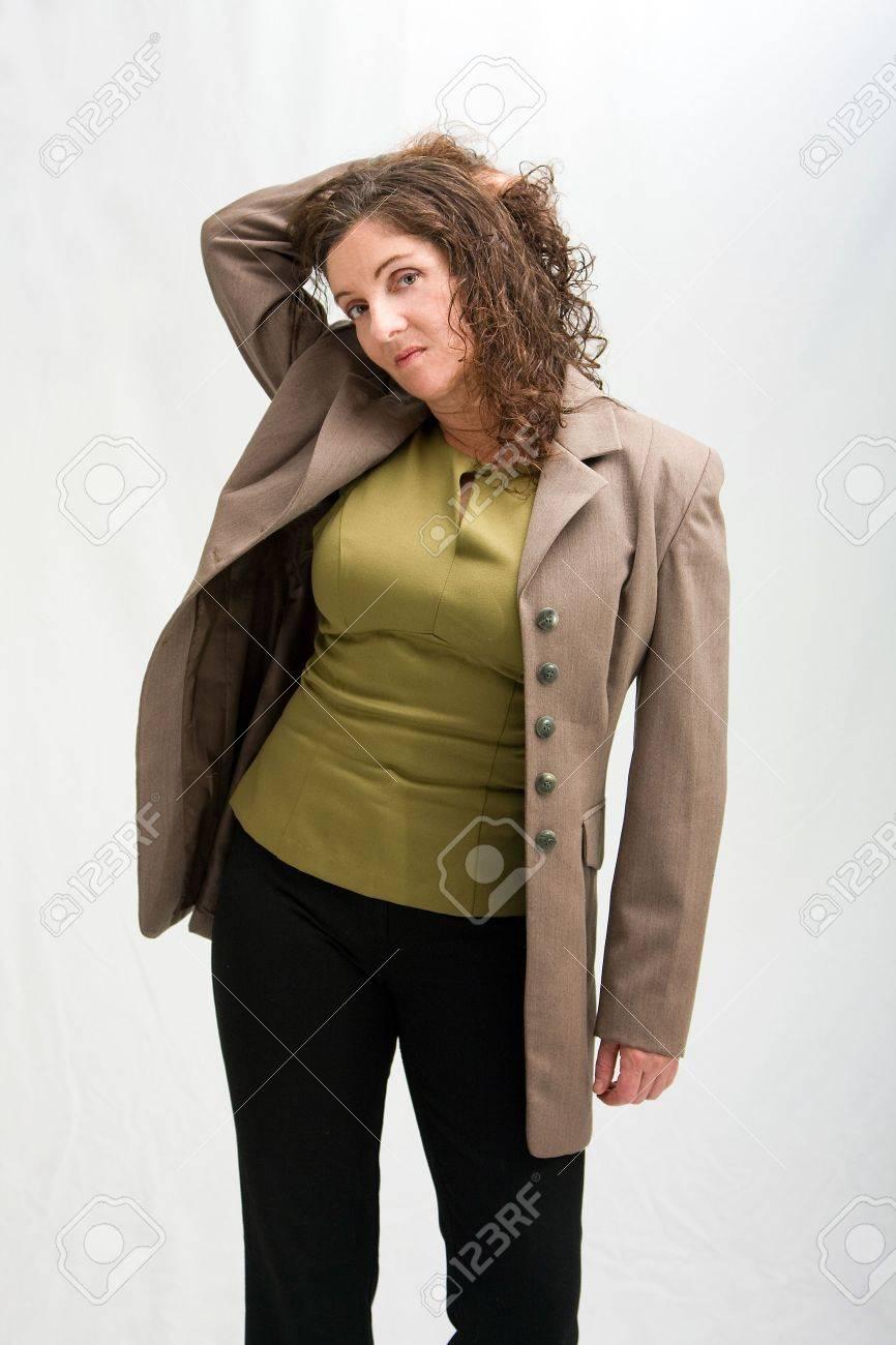 Brown jacket with black pants