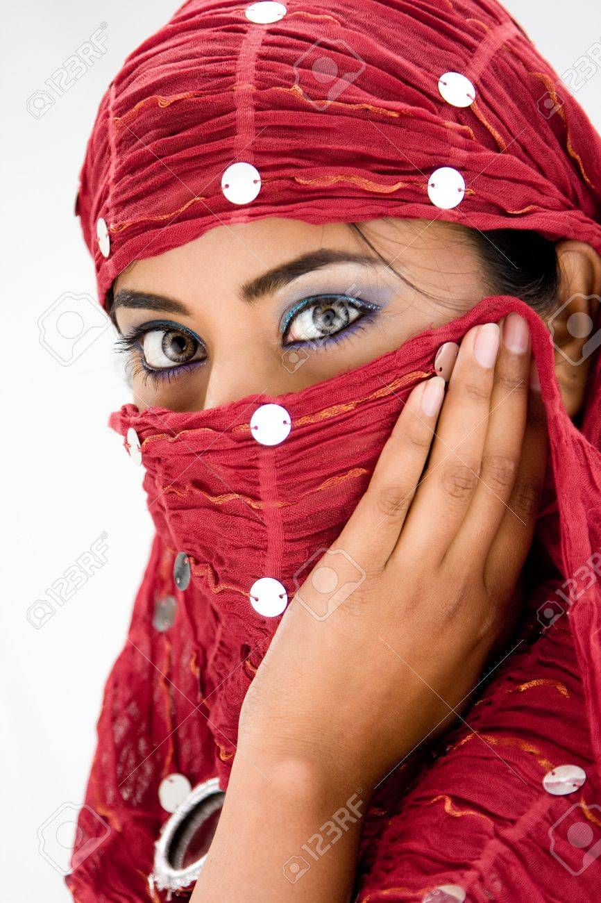 7bd6e382a87db Beautiful Woman With Red Head Scarf, Isolated Stock Photo, Picture ...