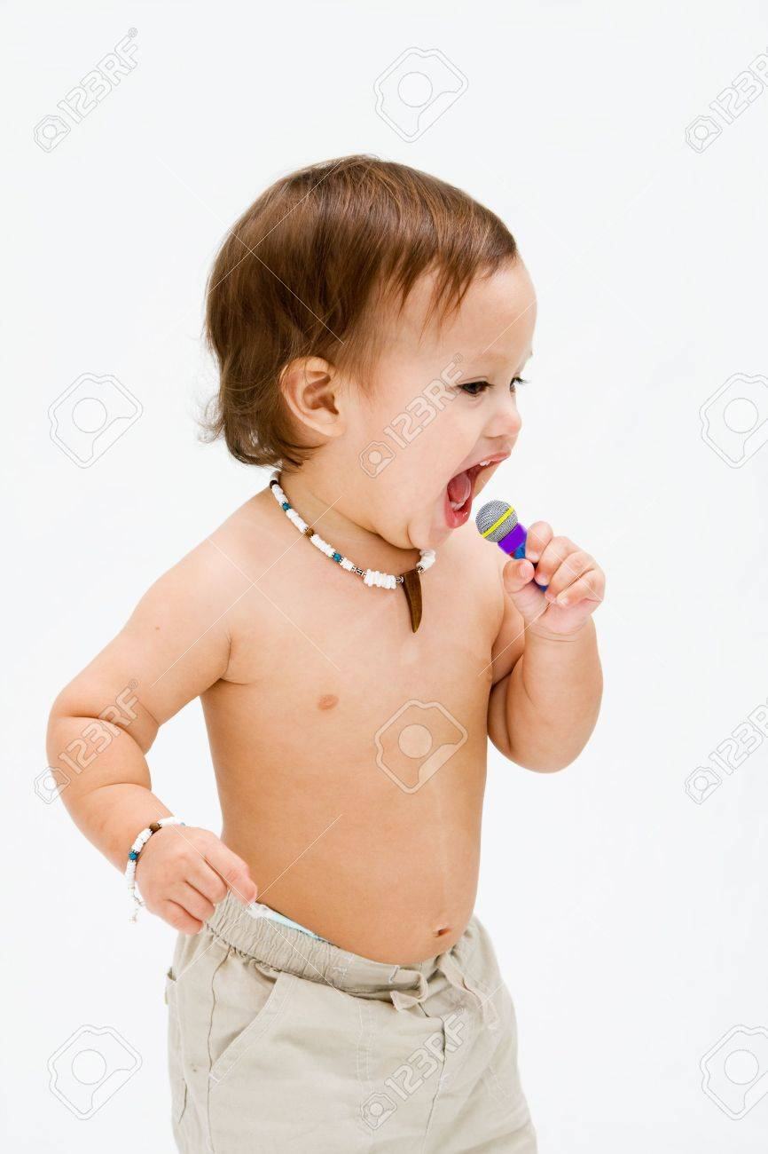 Cute topless toddler boy with necklace open mouth singing, isolated Stock Photo - 3829155