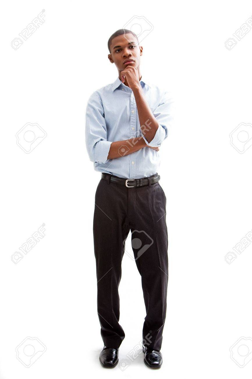 Young African business man standing relaxed and secure thinking, isolated Stock Photo - 4054103