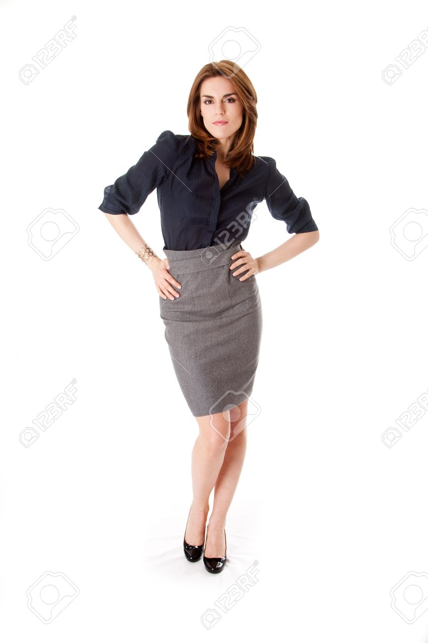 Beautiful Brunette Business Woman With Sexy Attitude Standing ...