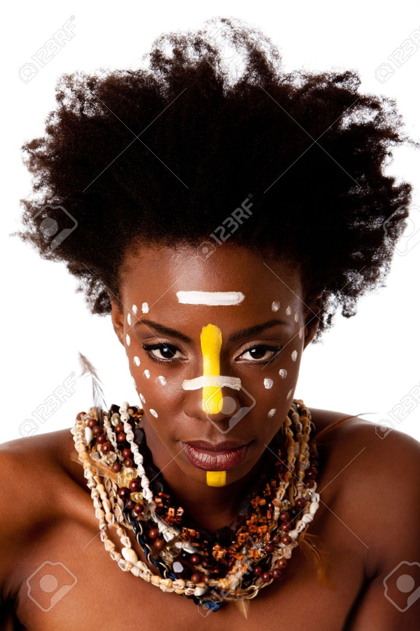 Beautiful Head Of An African Tribal Woman With Afro Curly Hair Face Paint Dots Stripes