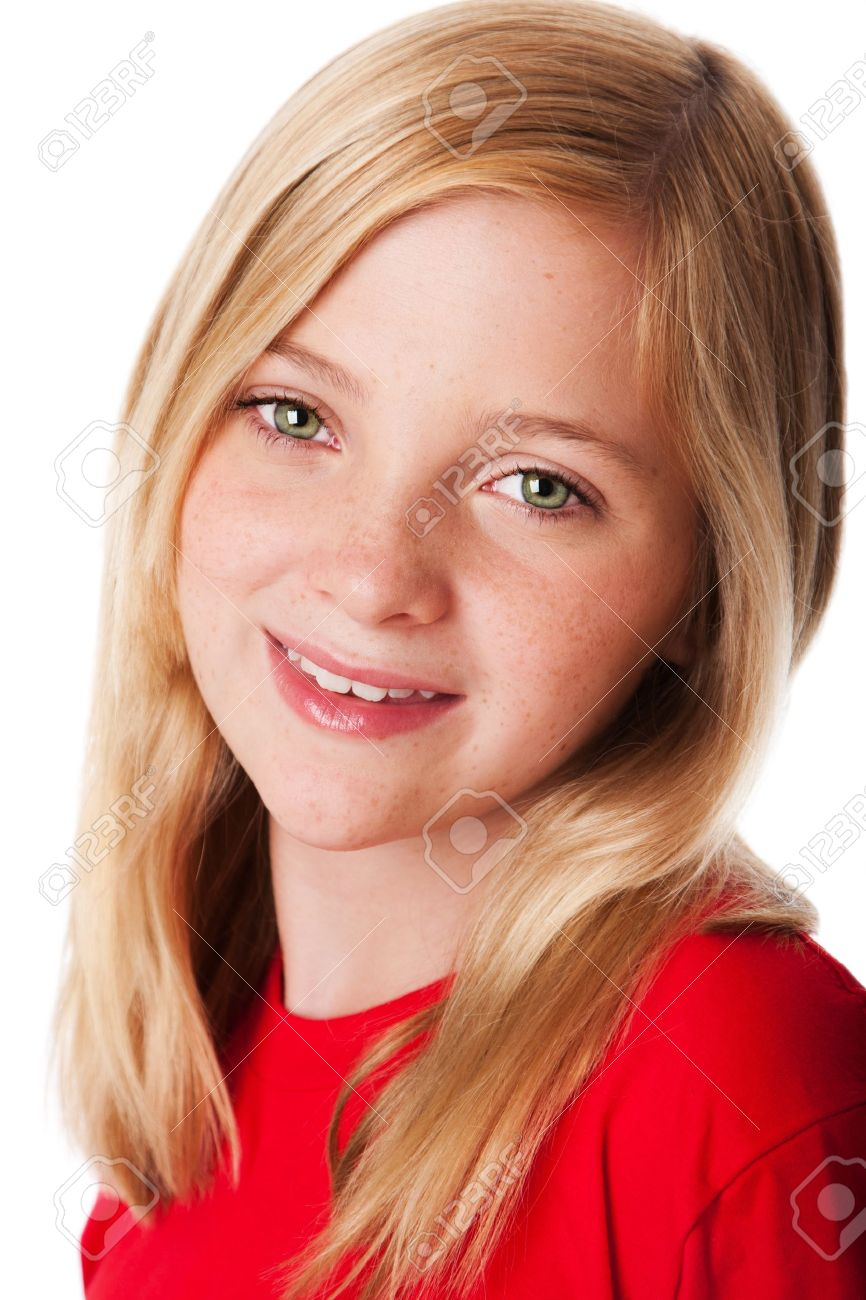 Beautiful face of a happy smiling teenager child girl with green eyes and blond hair, isolated. Stock Photo - 9924810