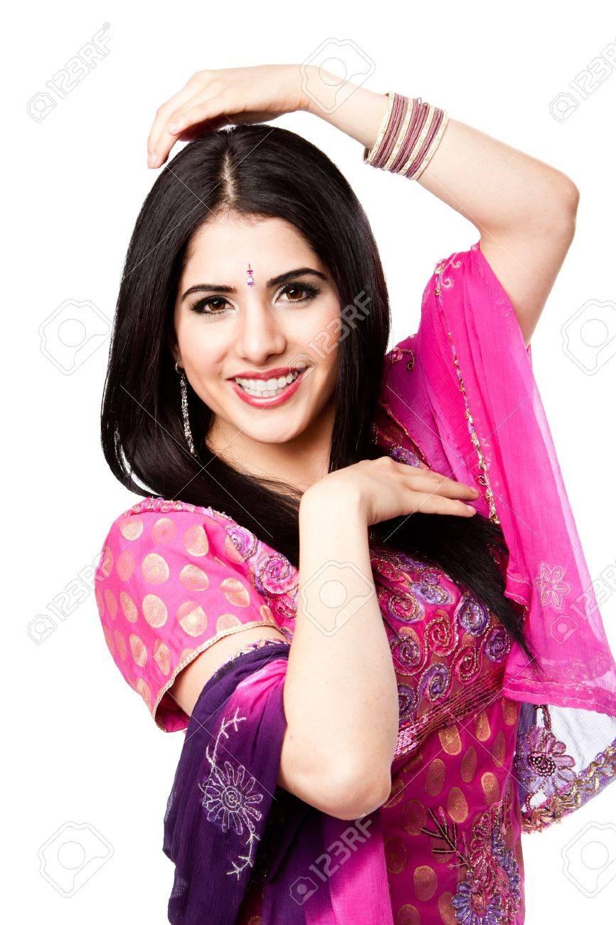 Feliz Sonriente Hermosa Bengalí Hindú Mujer En Pie Vestido Colorido ...