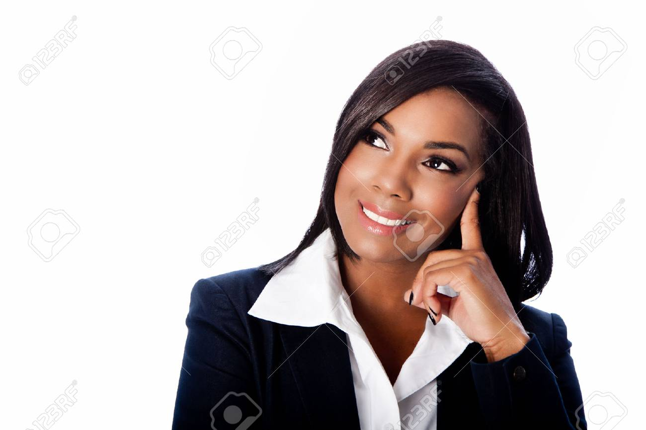 Face of beautiful happy smiling thinking ideas business woman, on white. - 65014564