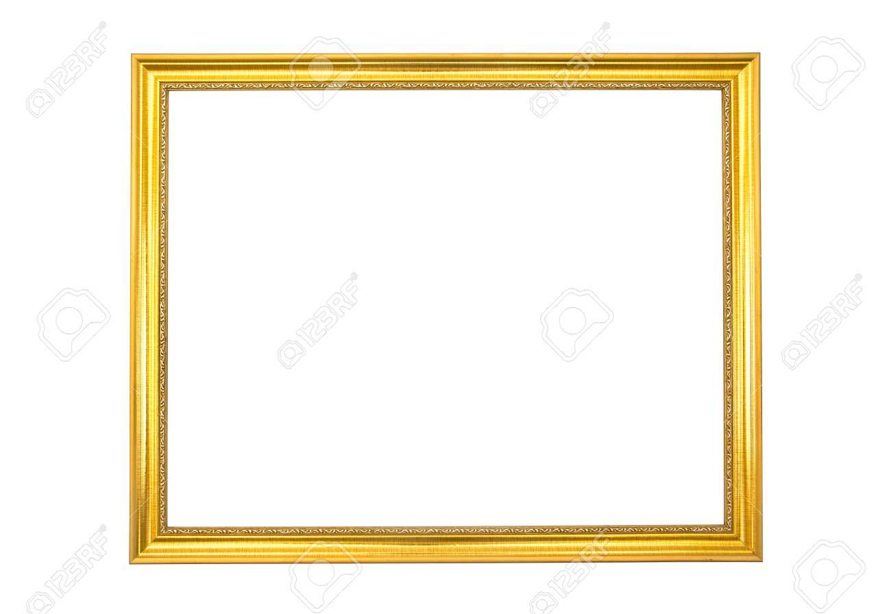 Antique Golden Frame Isolated On White Backgroundgold Frame Stock