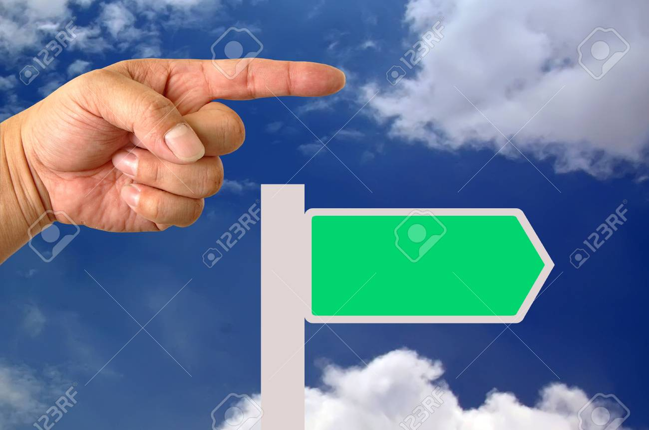 Direction traffic sign with hand Stock Photo - 9699347