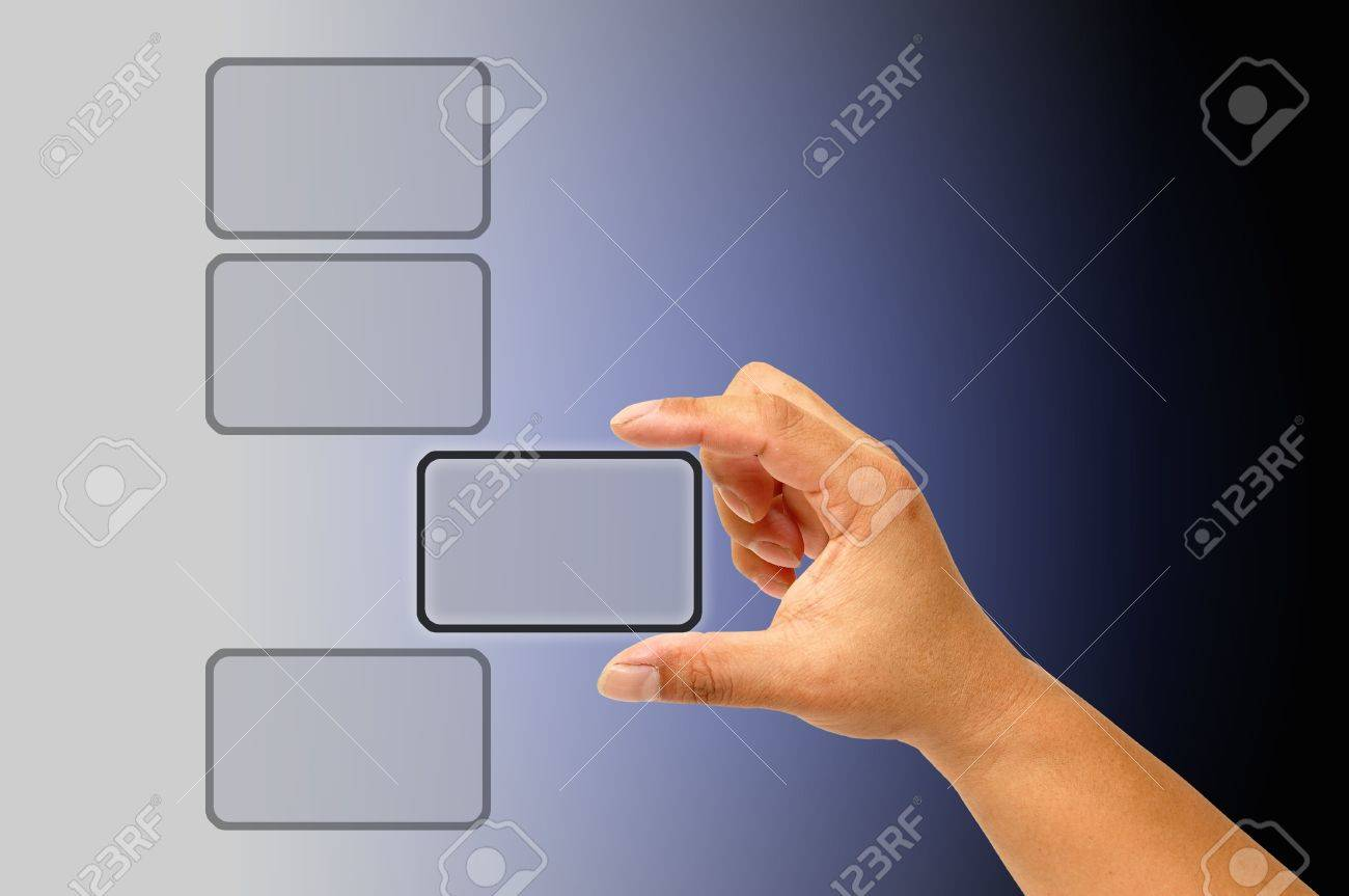 Hand pushing the button Stock Photo - 9845318