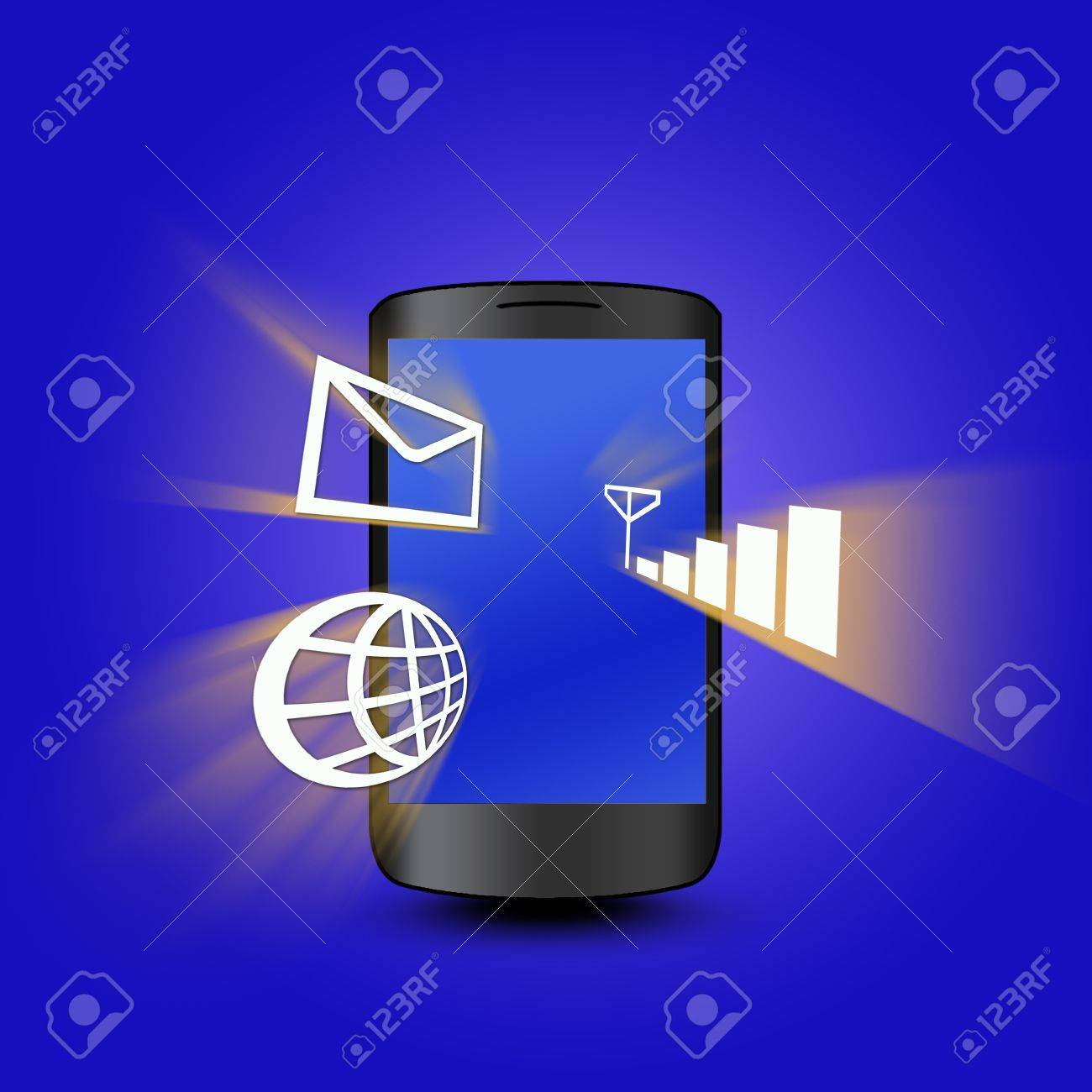 Mobile phone with network Stock Photo - 10092523