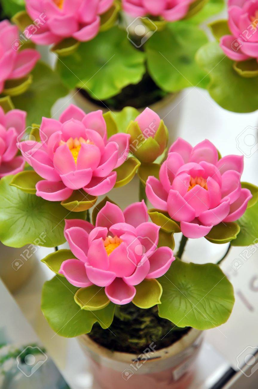 Beautiful Bouquet Of Artificial Lotus Flowers Stock Photo Picture