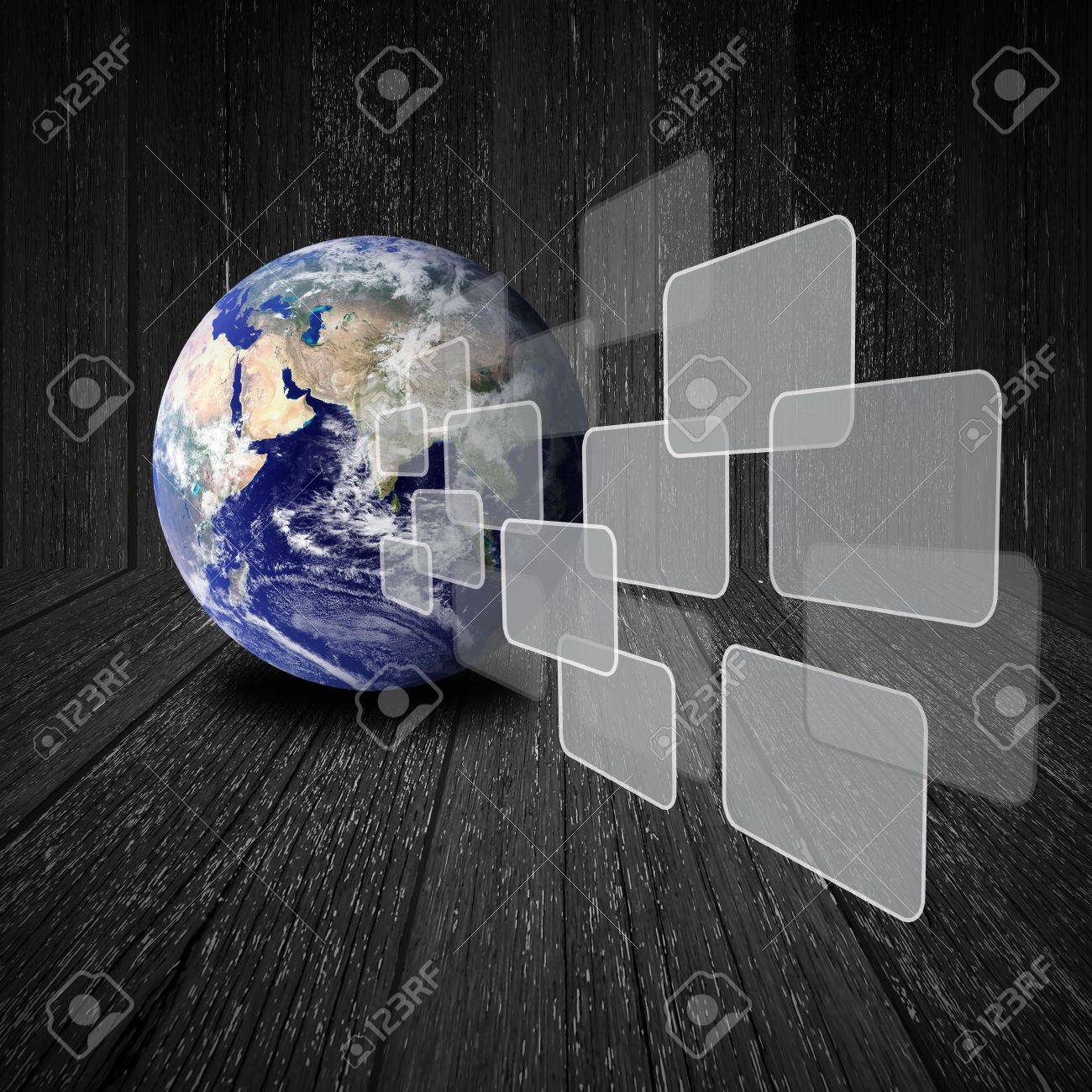 Flying transparent button with earth globe on wood background Stock Photo - 13102963