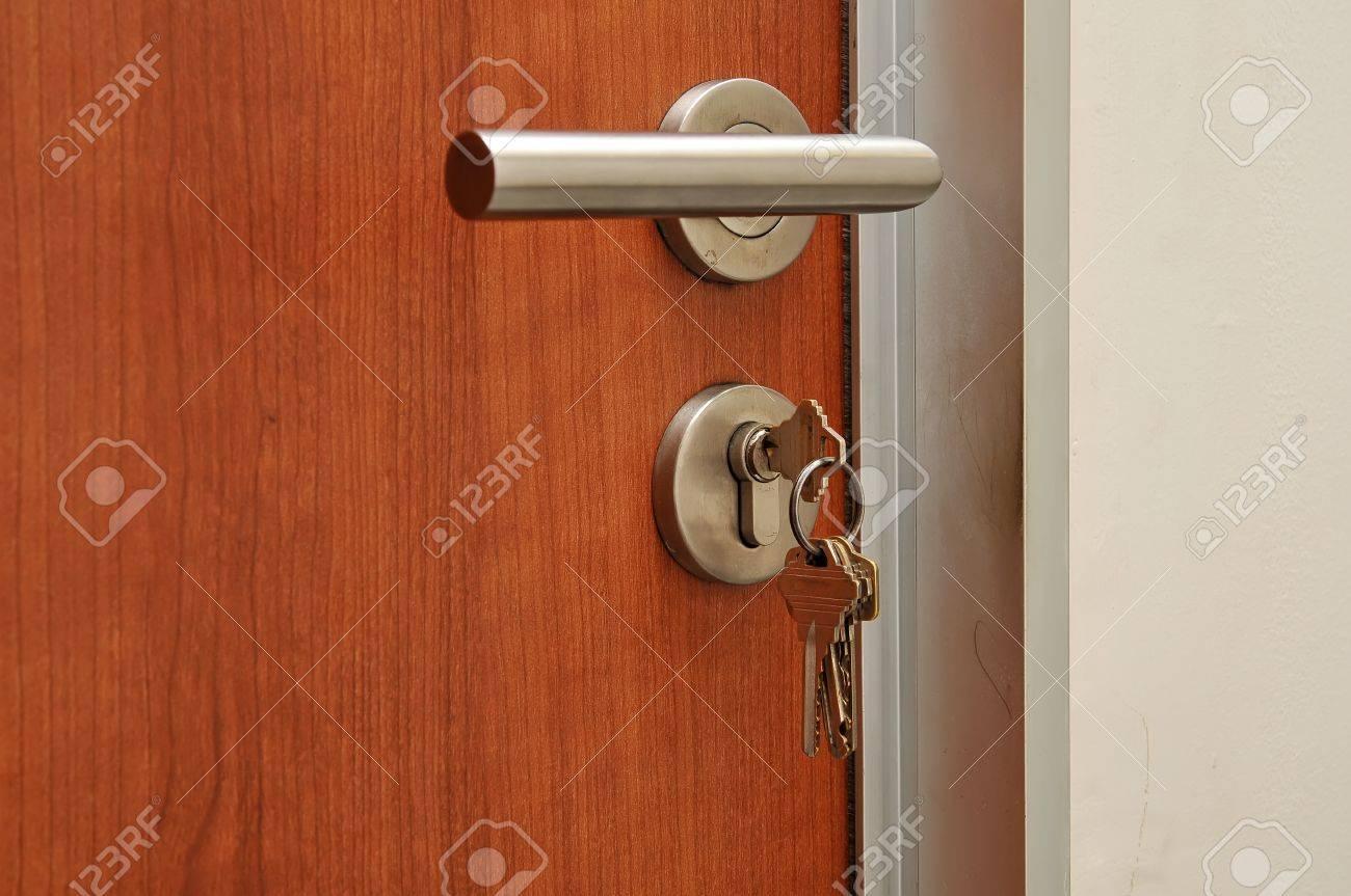 Modren style door handle on natural wooden door Stock Photo - 13467277
