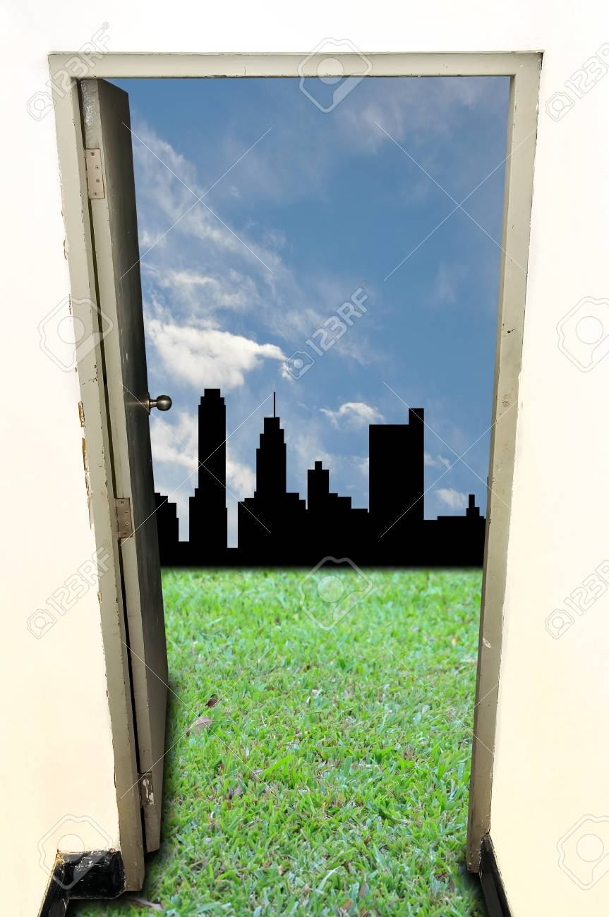 Old door open to green field with city Stock Photo - 13596494