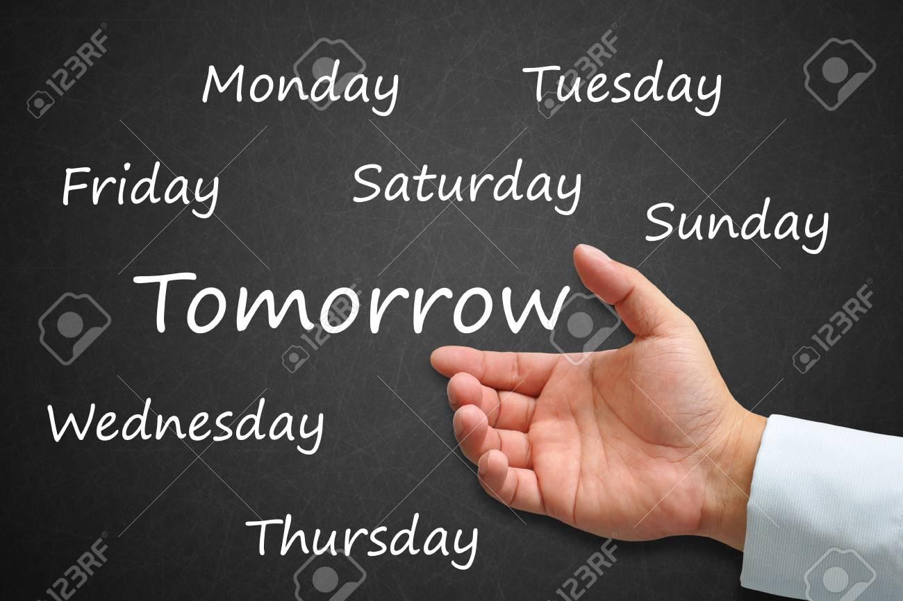 Tomorrow Written on Blackboard with hand Stock Photo - 14911989