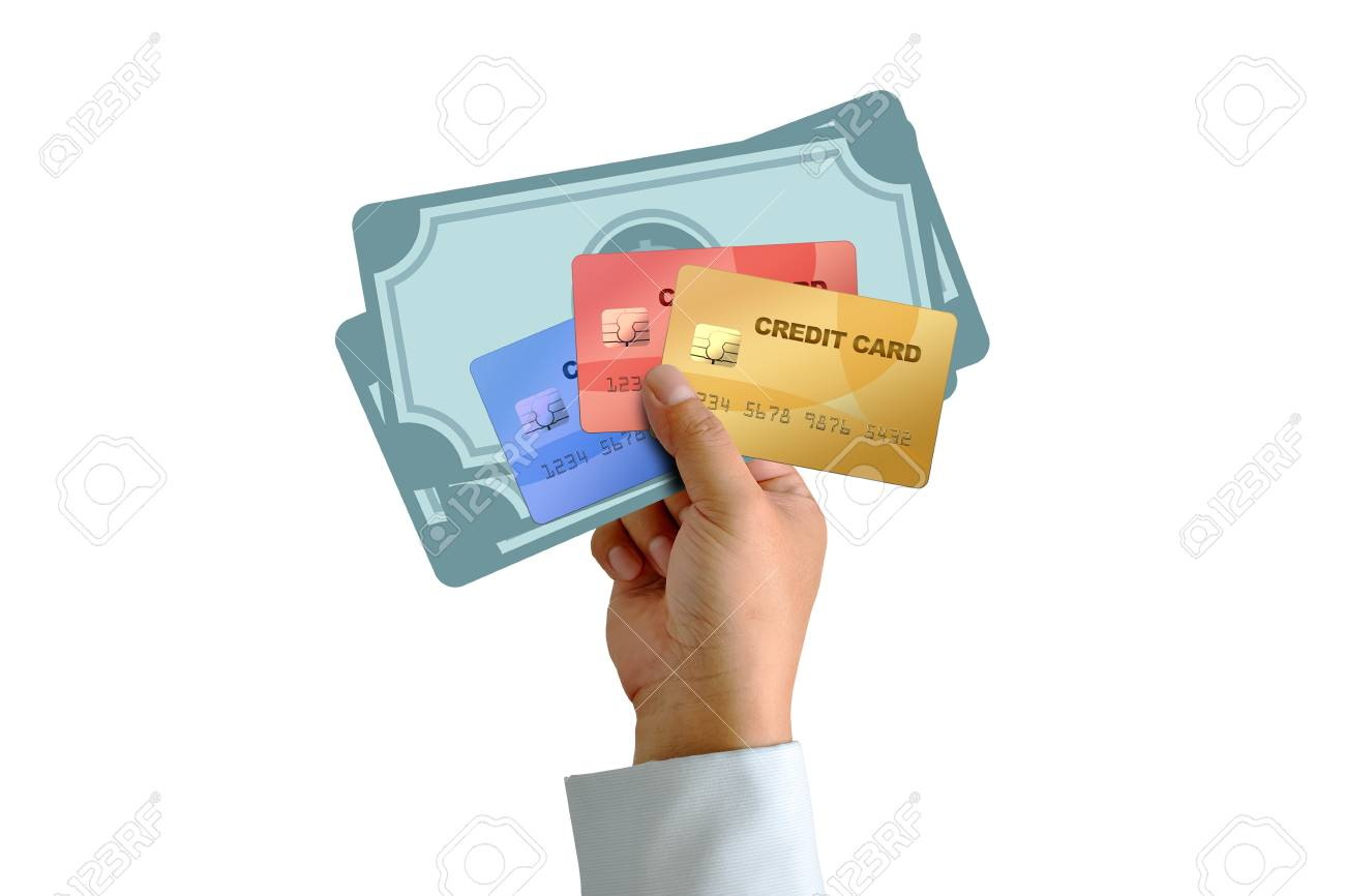 Hand holding credit card with money isolated on white background Stock Photo - 15267993