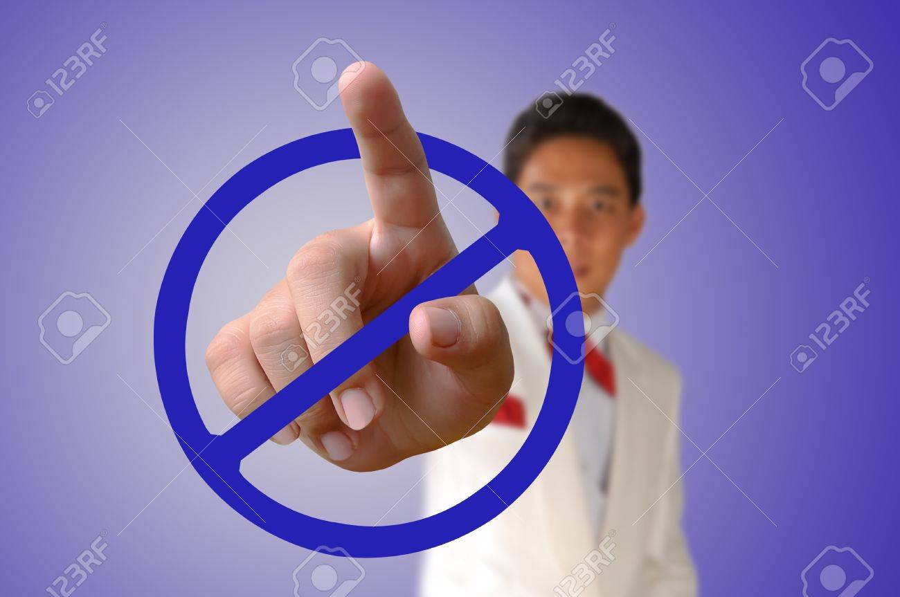 Portrait of asia Business man pressing the button Stock Photo - 17892859
