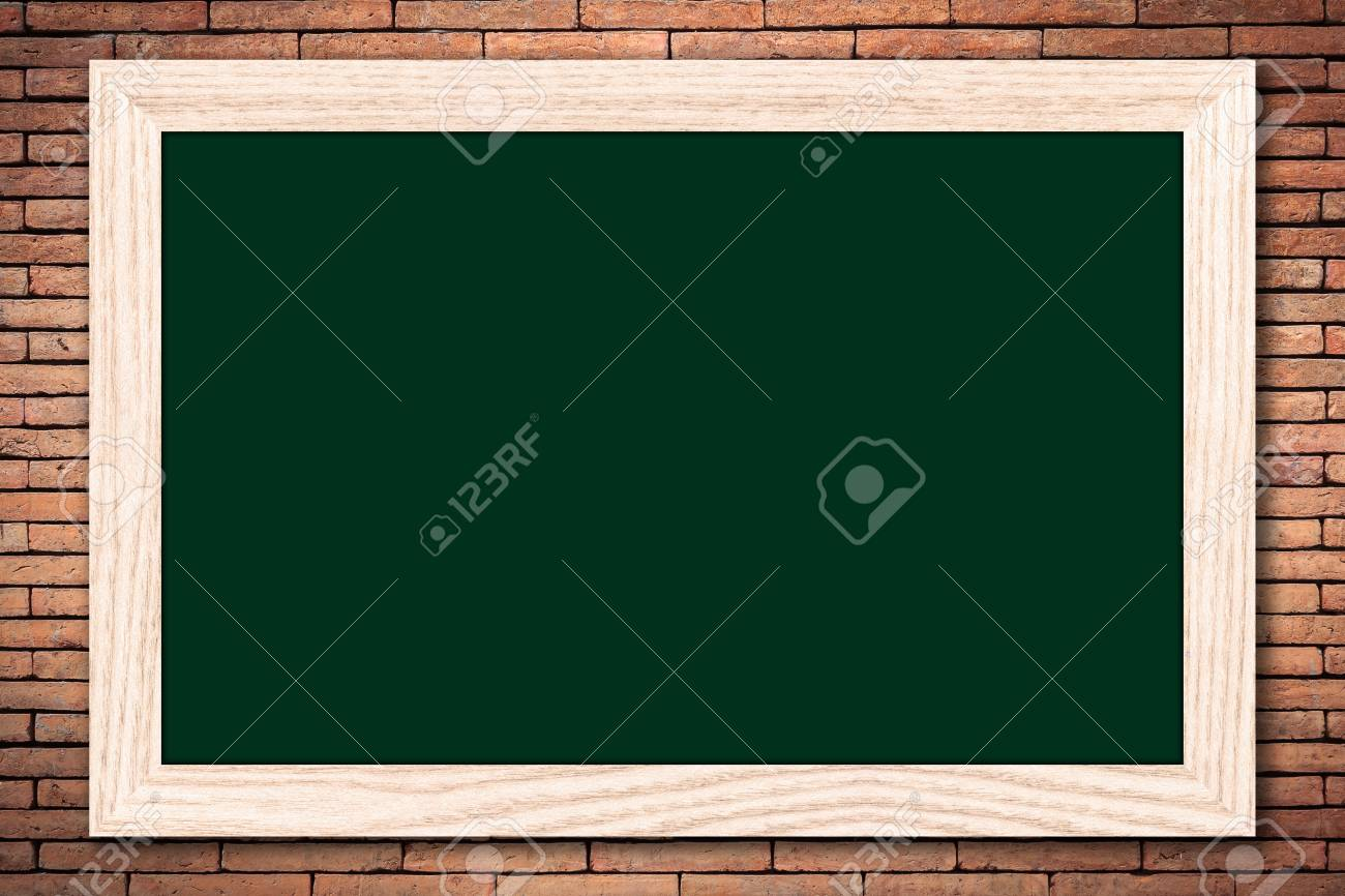 Chalkboard or empty bulletin board with a wooden frame on brick chalkboard or empty bulletin board with a wooden frame on brick wall background for design with jeuxipadfo Gallery