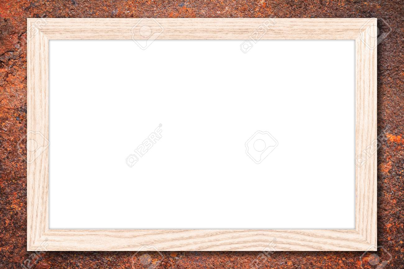 Whiteboard Or Empty Bulletin Board With A Wooden Frame On Rusty ...
