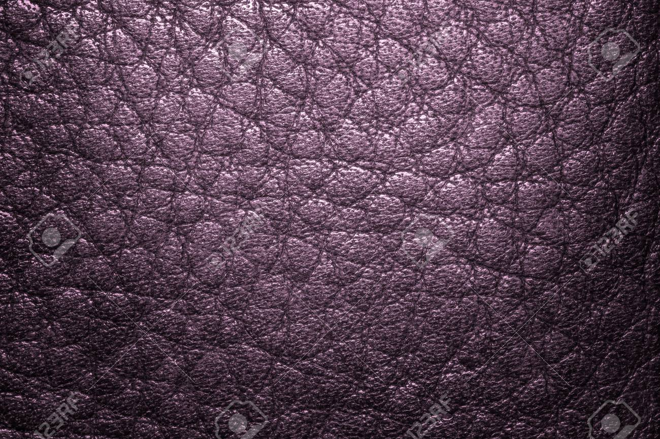 Deep Purple Leather Texture Background For Fashion, Furniture Or Interior  Concept Design. Stock Photo