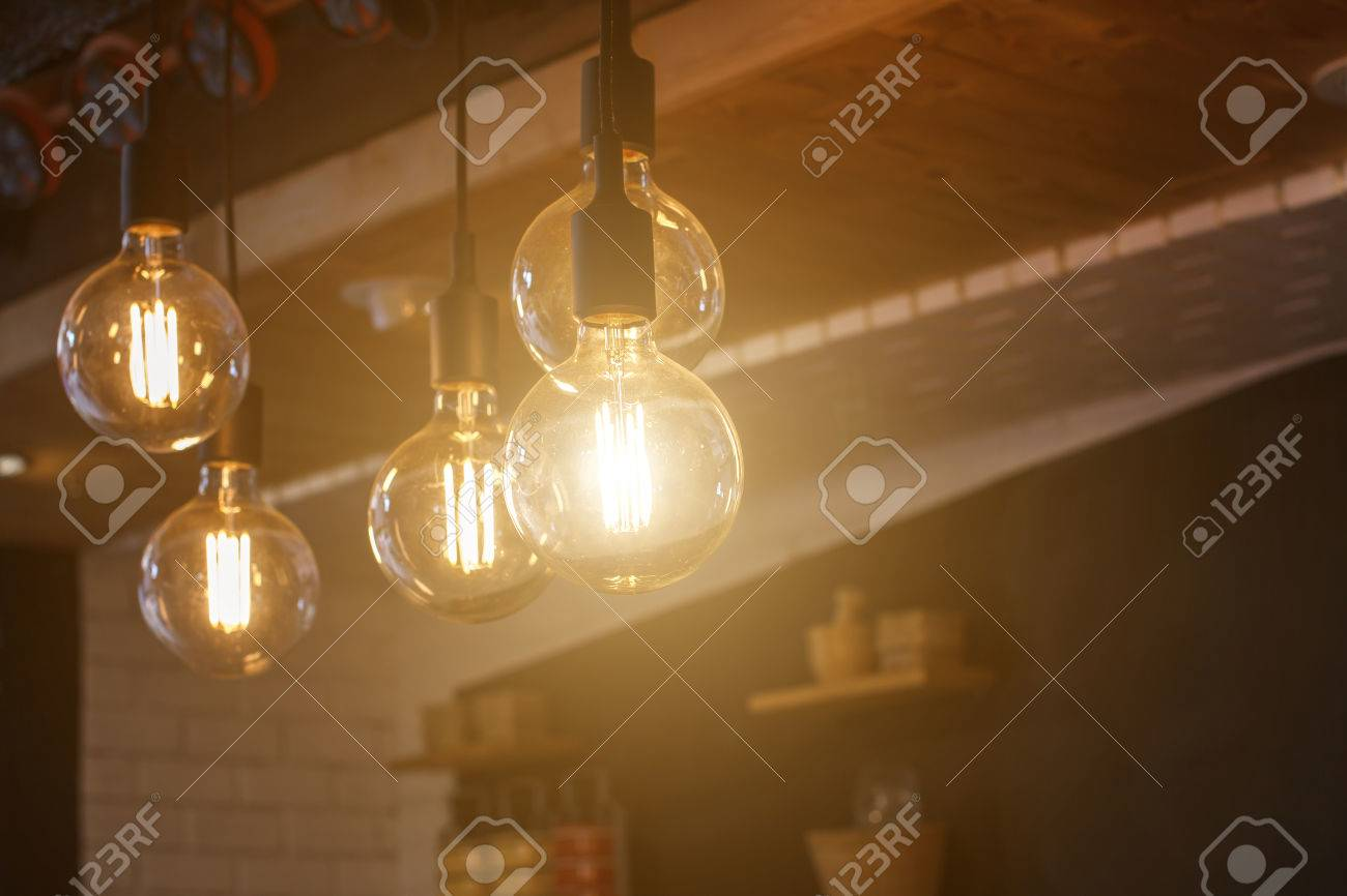 decorative antique style filament led light bulbs in restaurant