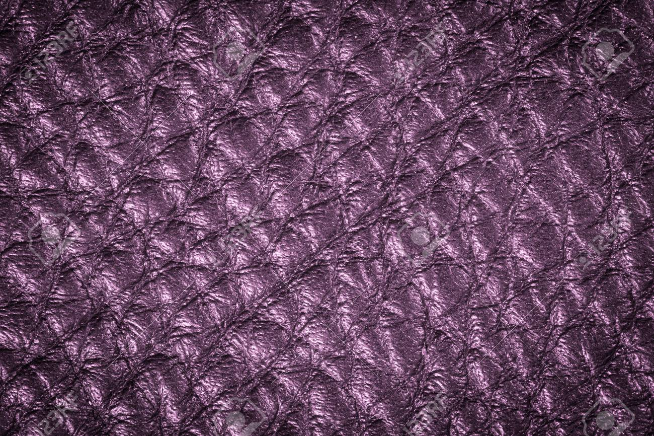 Purple Leather Texture Background For Fashion, Furniture Or Interior  Concept Design. Stock Photo