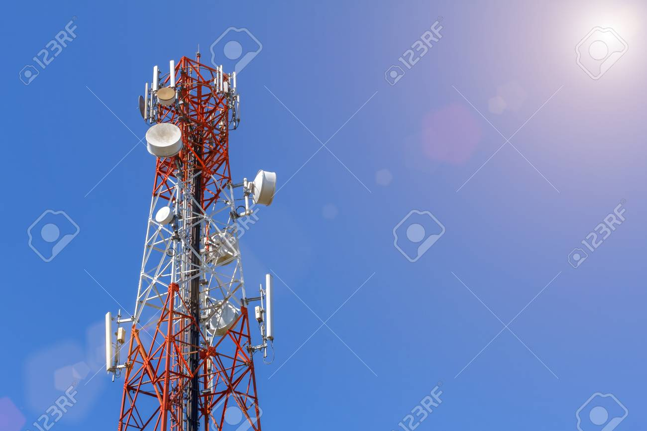 Telecommunication, Cellular or Radio antenna tower in blue sky