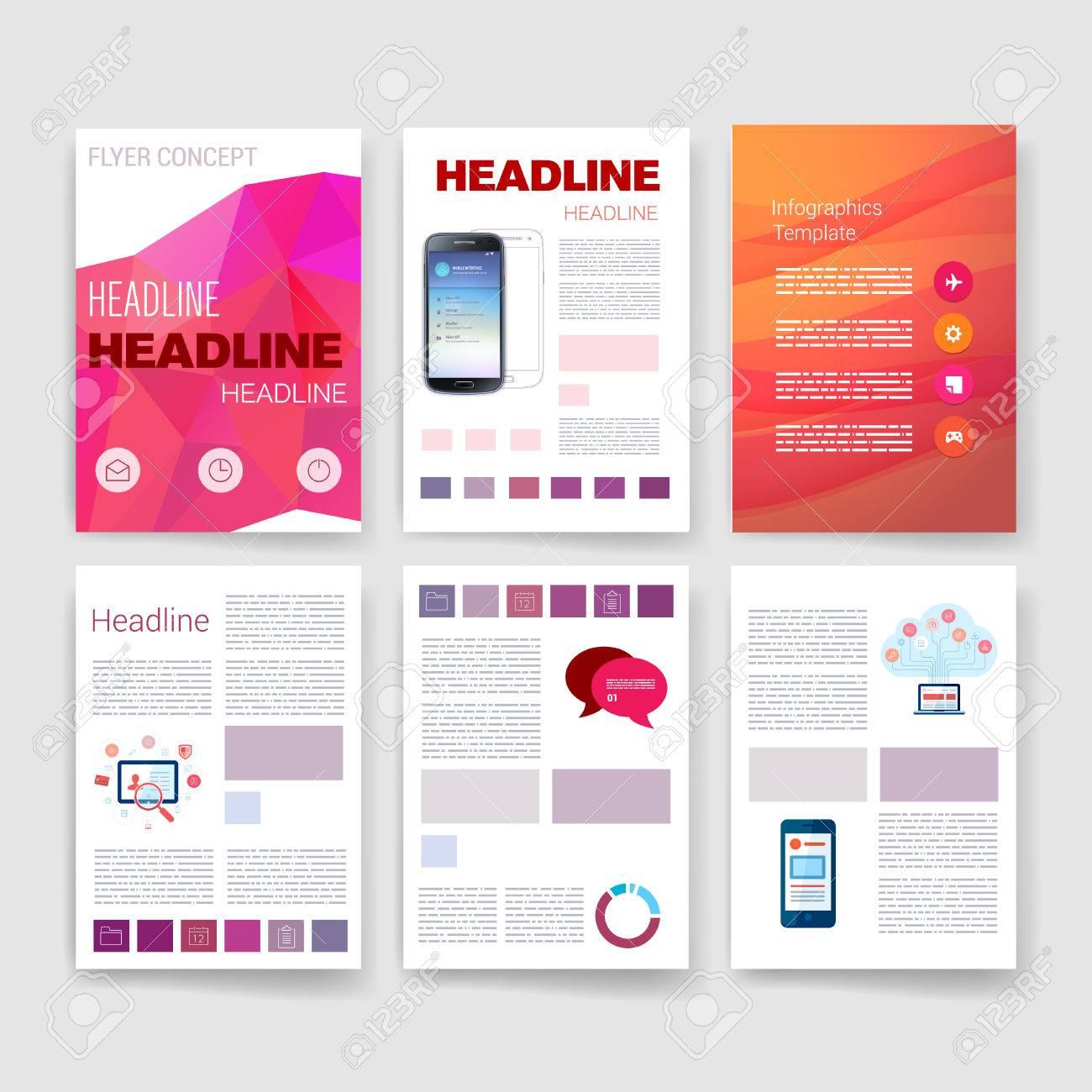 Templates Set Of Flyer Brochure Design Templates Mobile - Modern brochure design templates