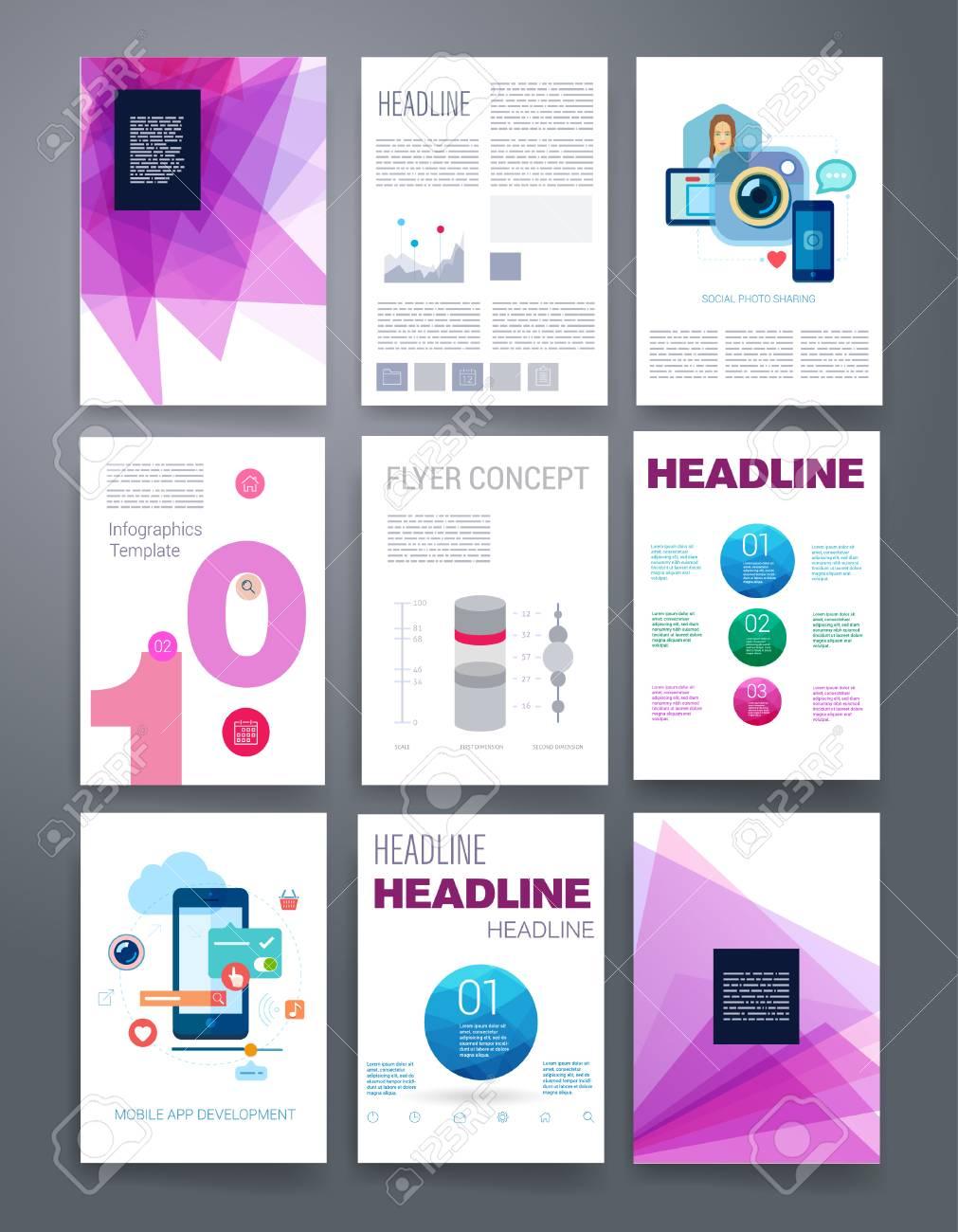 template design set for mail brochures mobile technology app