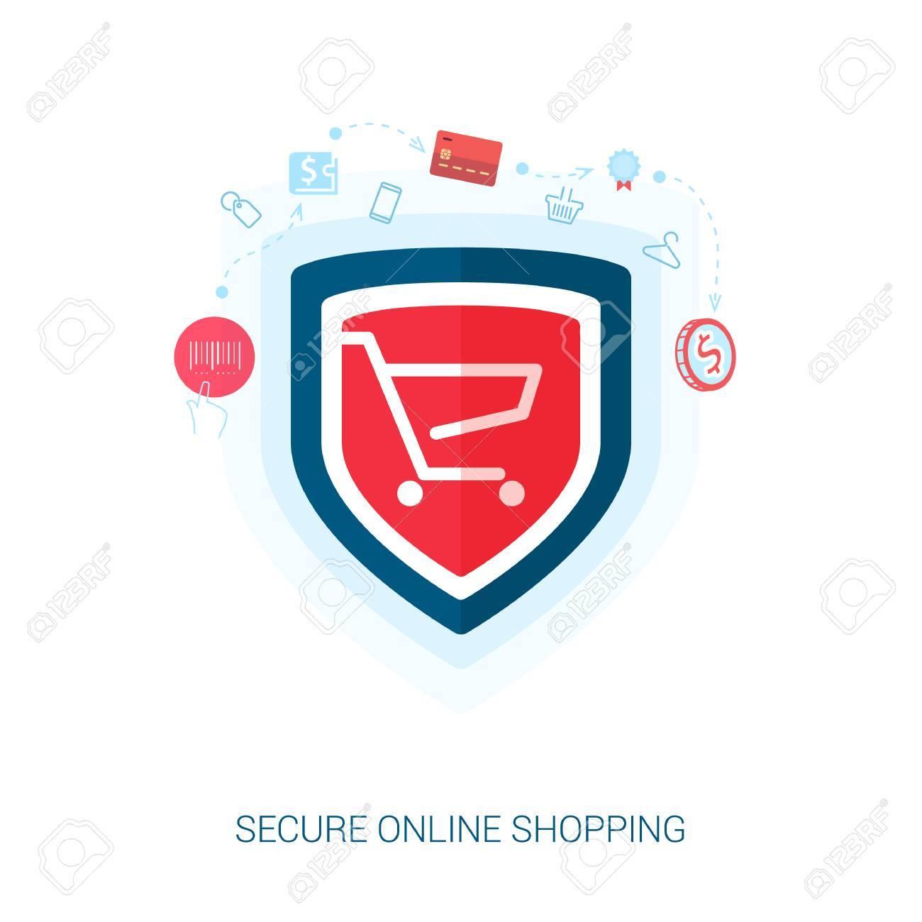 Set of flat design concept icons for secure online shopping