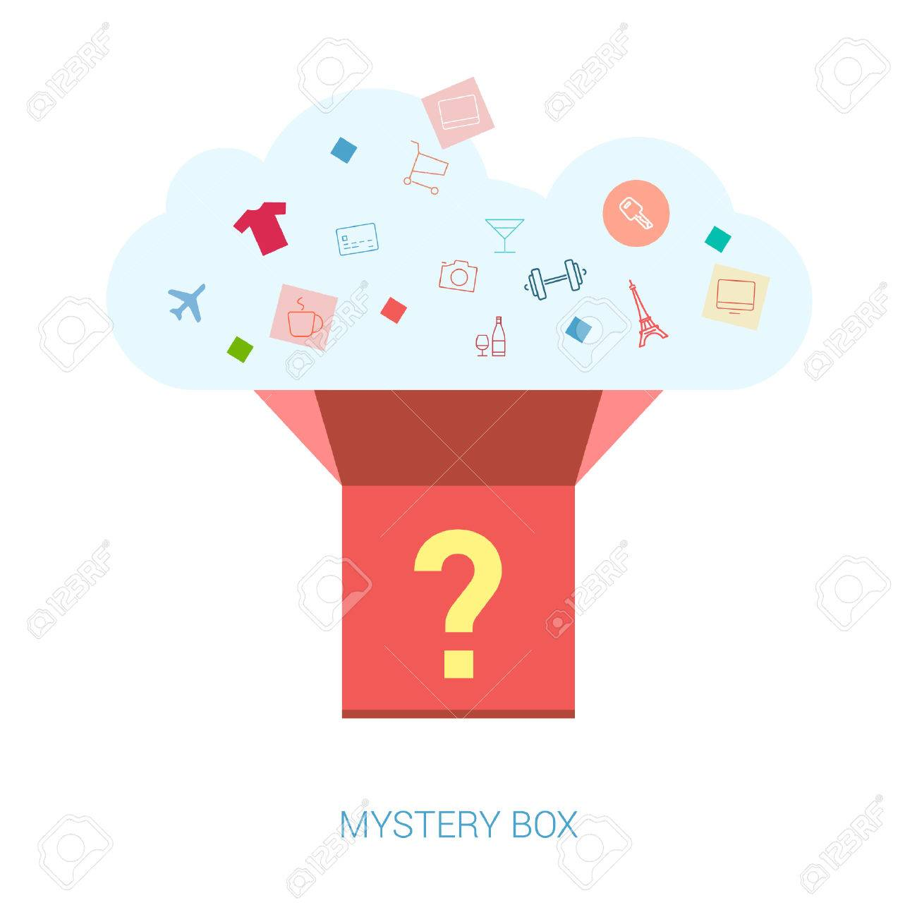 Flat Icons Mystery Box Vector Il Ration For Re E Commerce Shopping News