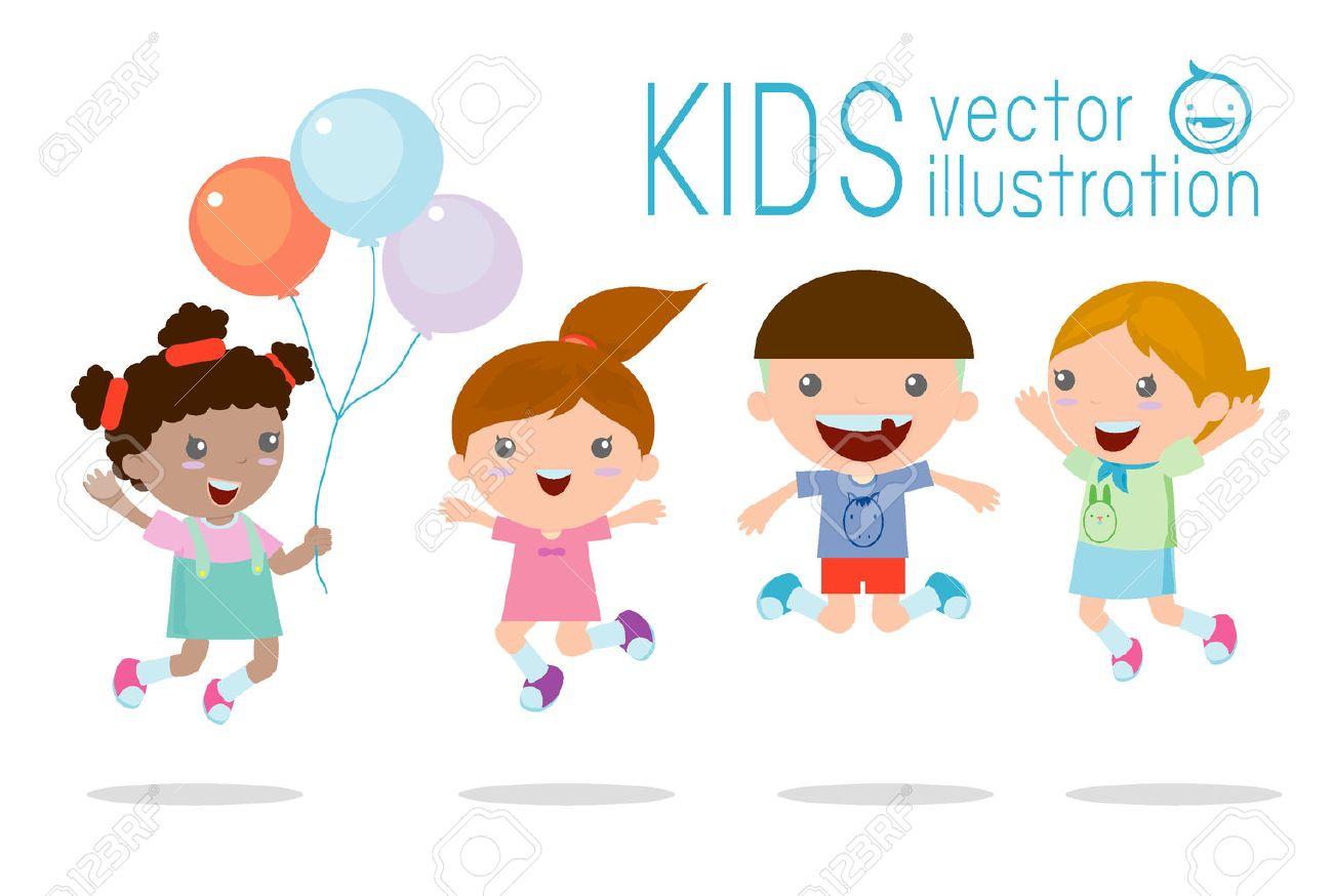 喜び、幸せなジャンプ子供、幸せな漫画の子供たちの演奏、白背景で遊ぶ