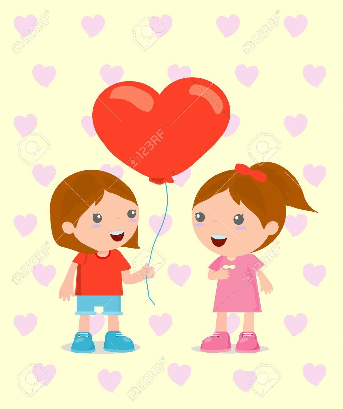 カジュアルな服を着て、ロマンチックなカップル、かわいい漫画のカップル