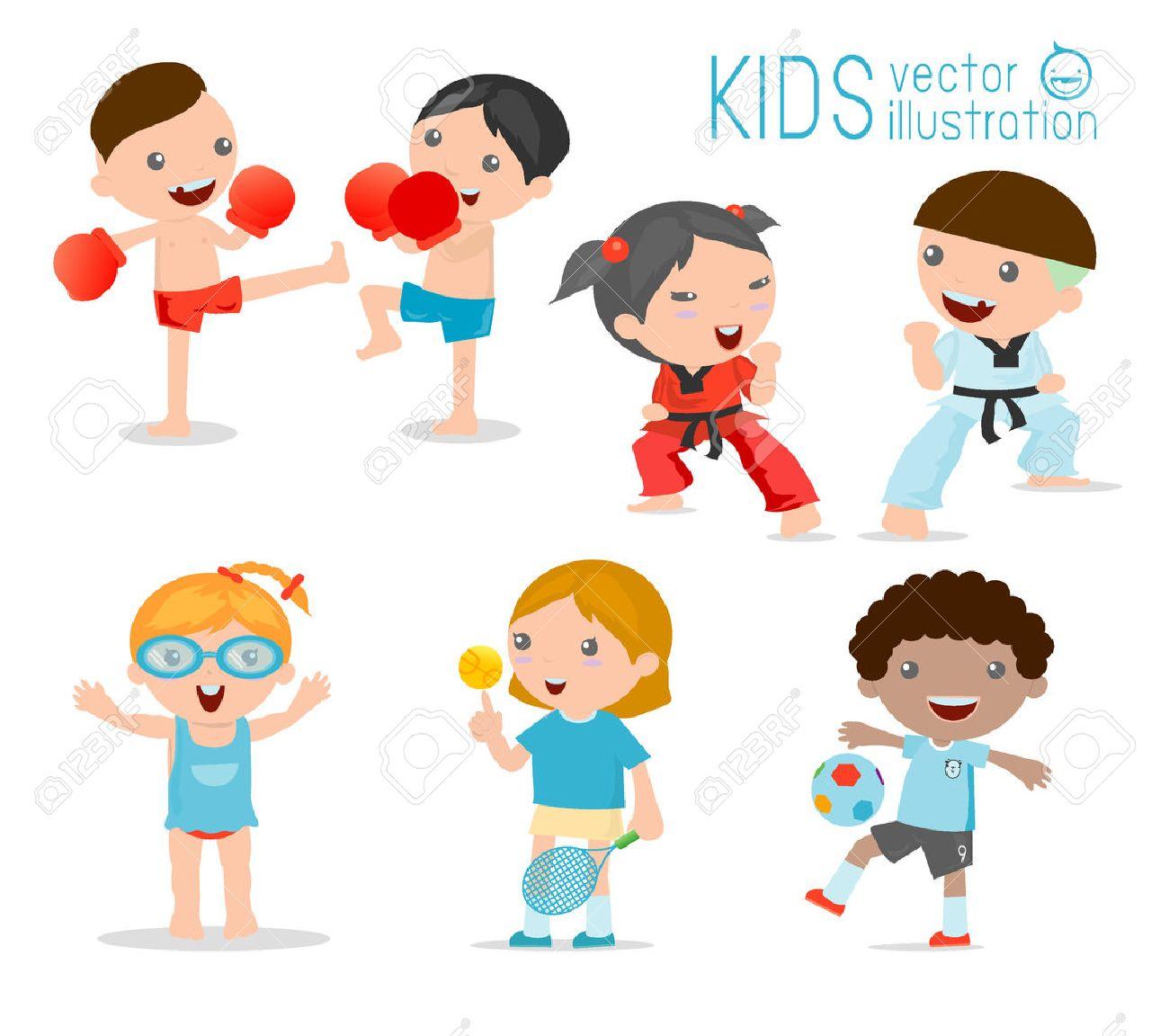白の背景に様々 なスポーツの子供の漫画子供のスポーツ、ボクシング