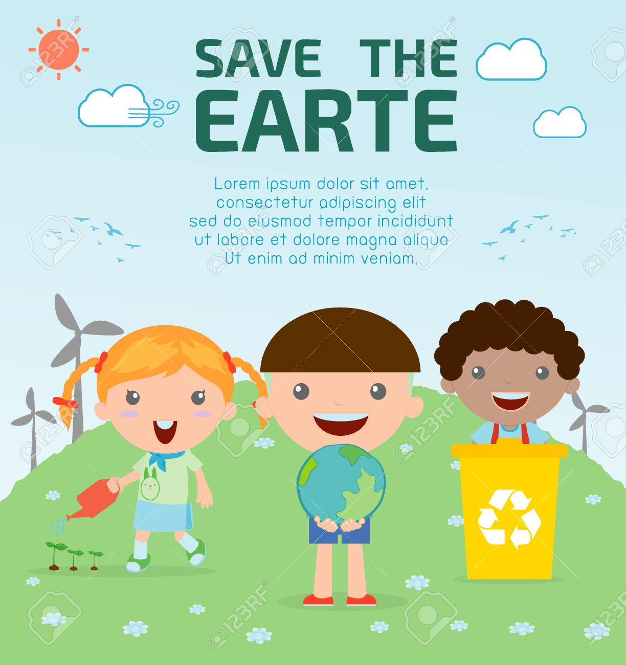Kids For Saving Earth Royalty Free Cliparts Vectors And Stock