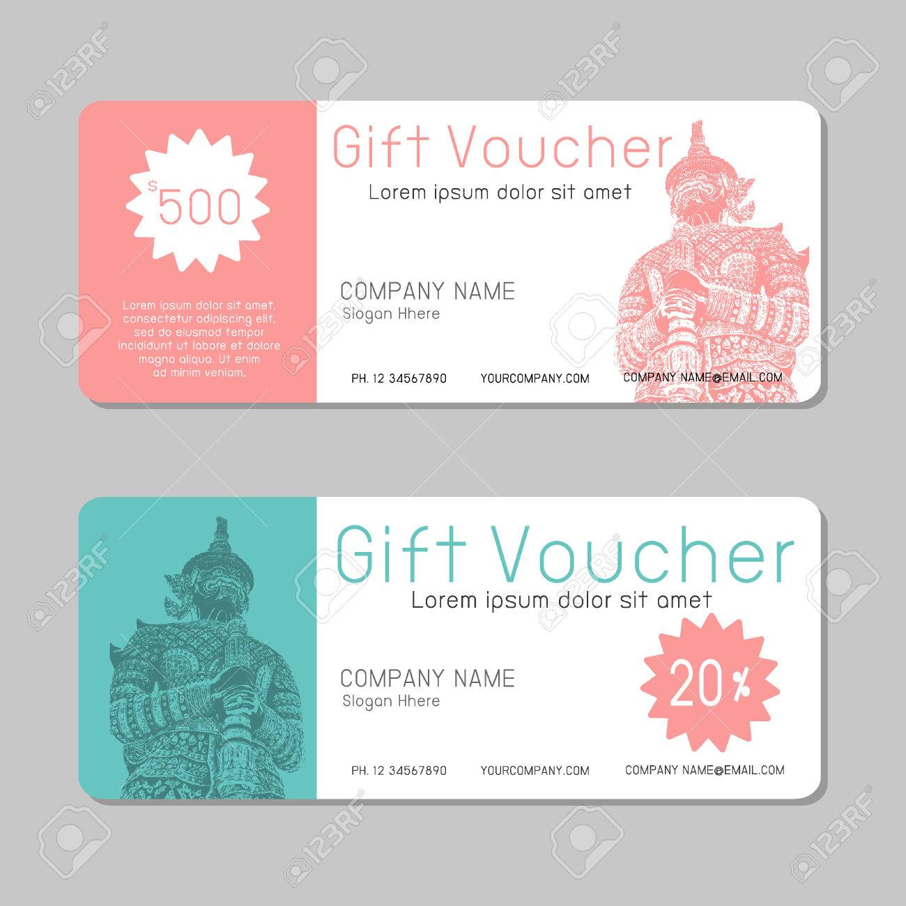gift voucher template and modern pattern voucher template with