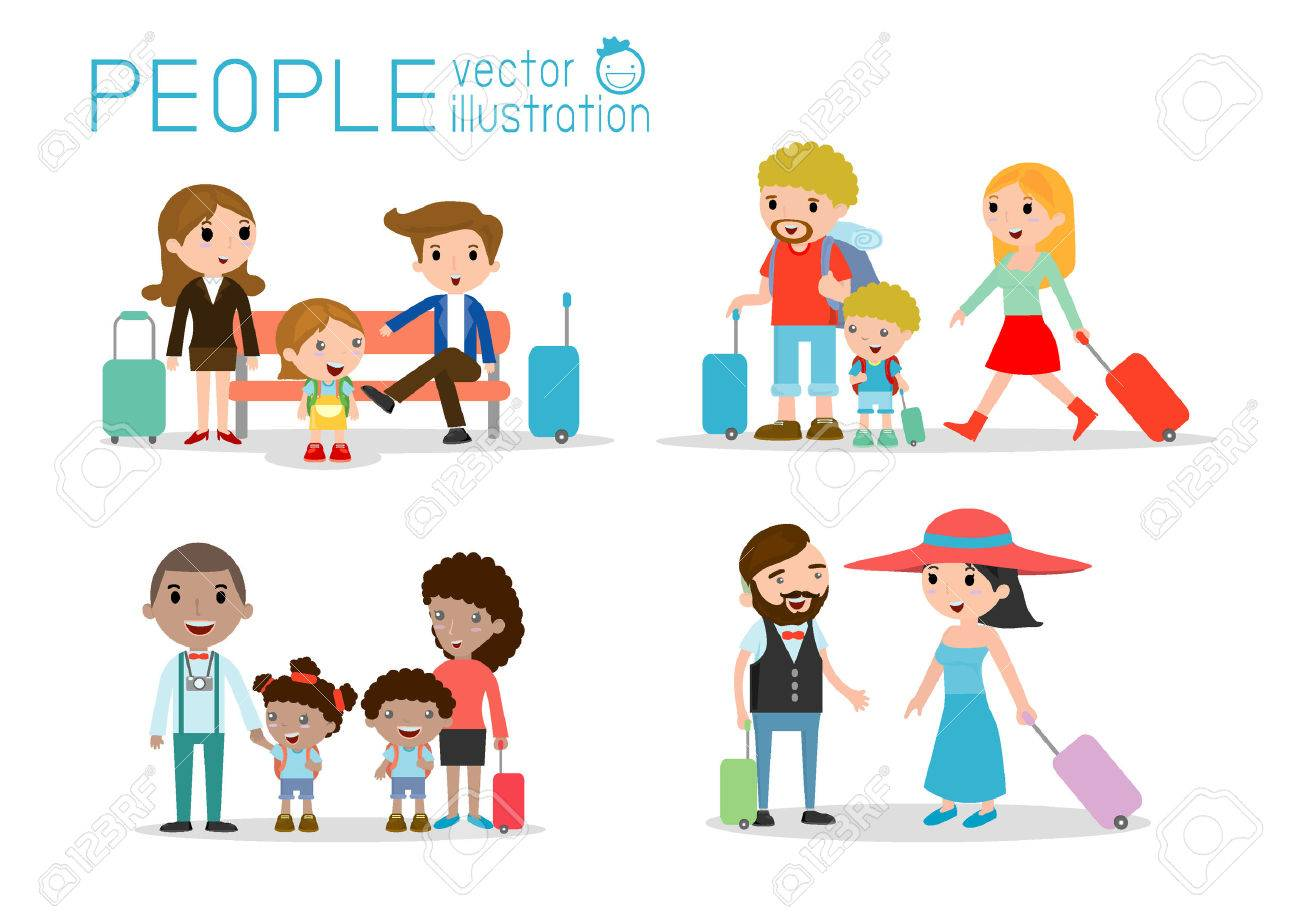Set characters family travelers. people and kids travelling . Flat design. traveling family on vacation. Stock Vector - 44175058