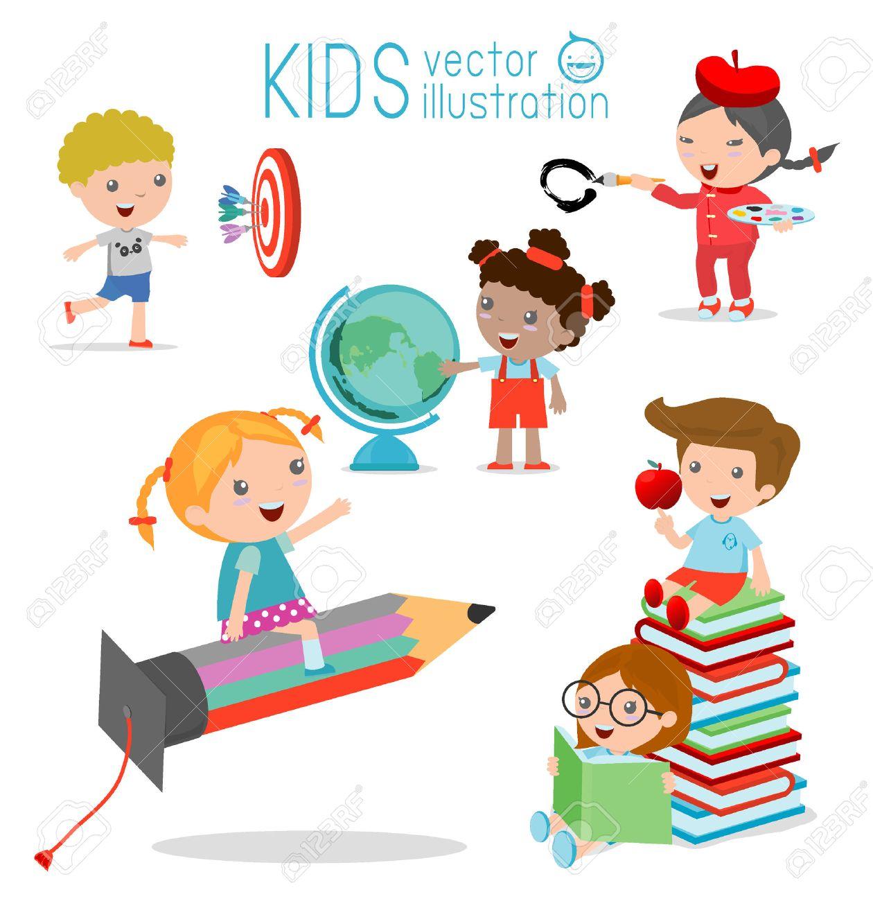 Felices Los Niños De Dibujos Animados Con El Concepto De Educación ...