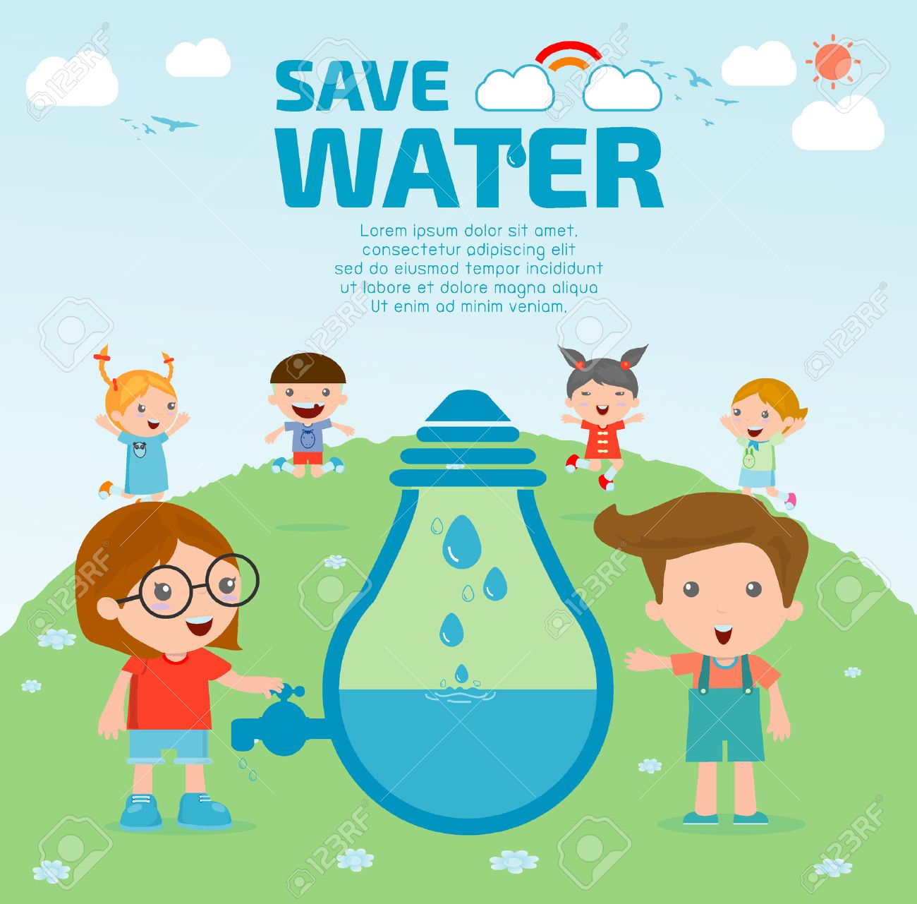 kids for save water concept ecology save the water water