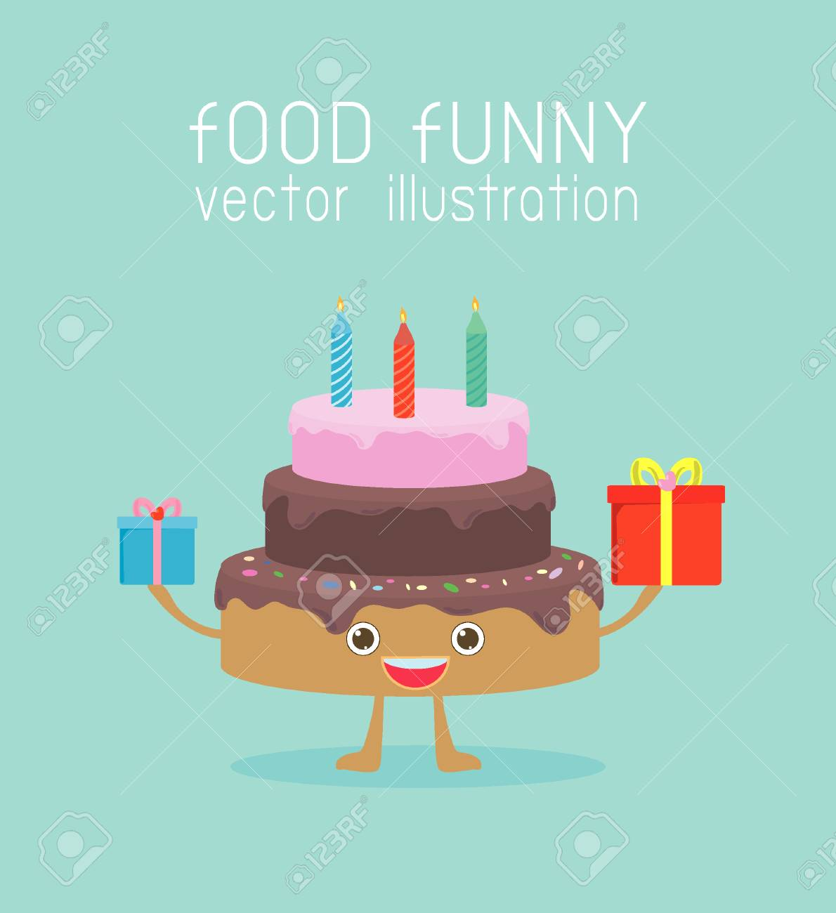 Peachy Food Funny Birthday Cakes With A Candles And Gift Vector Birthday Cards Printable Trancafe Filternl