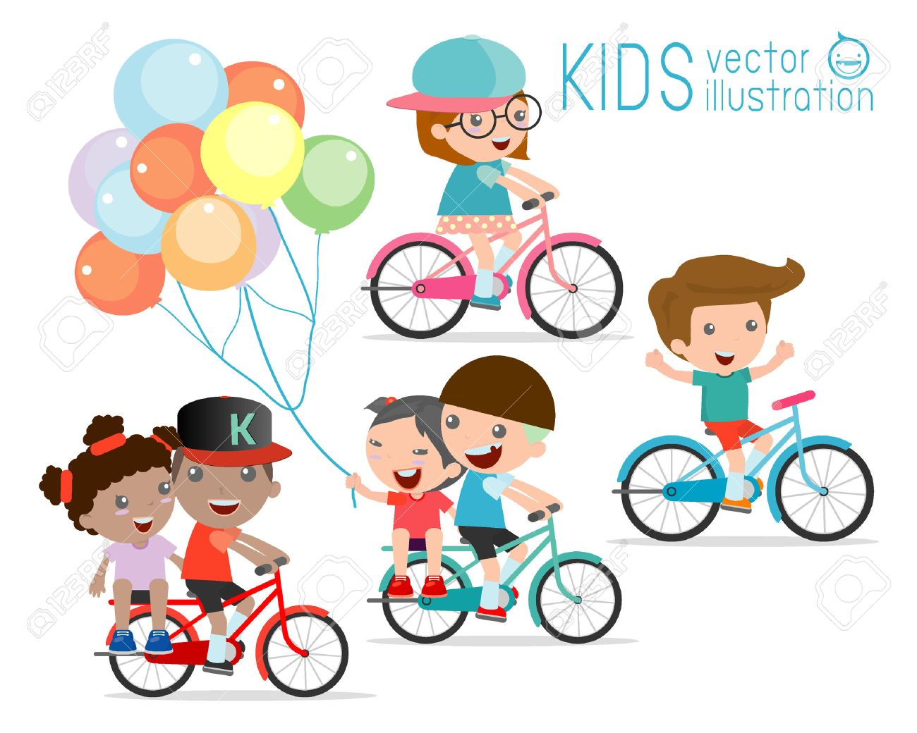 Kids Riding Bikes Child Riding Bike Kids On Bicycle Vector