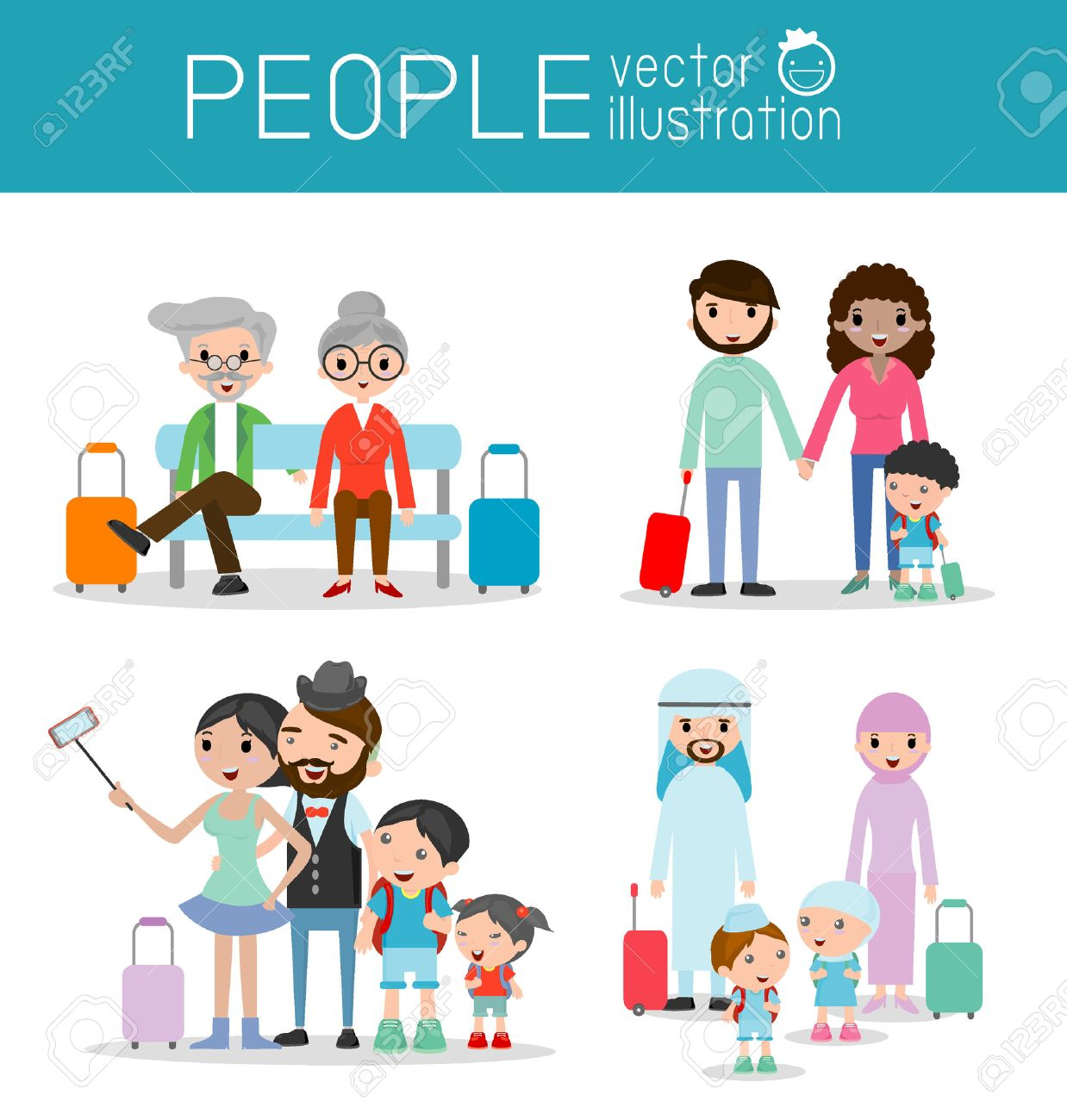 Set characters family travelers. people and kids travelling . Flat design. traveling family on vacation. Vector Illustration,Family vacation - 46508091