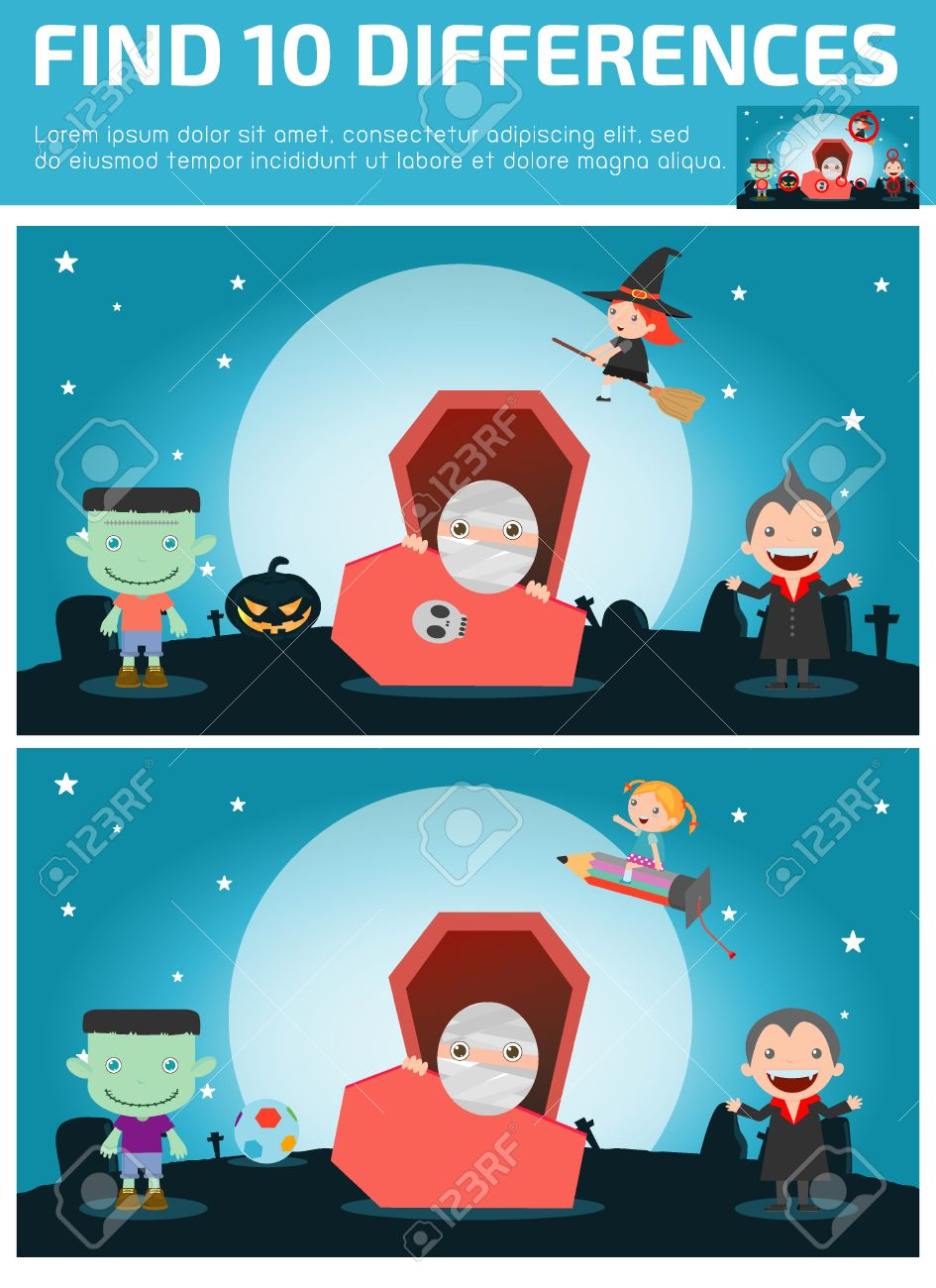 find differences,Game for kids ,find differences,Brain games, children game, Educational Game for Preschool Children, Vector Illustration, Happy Halloween. - 46691382