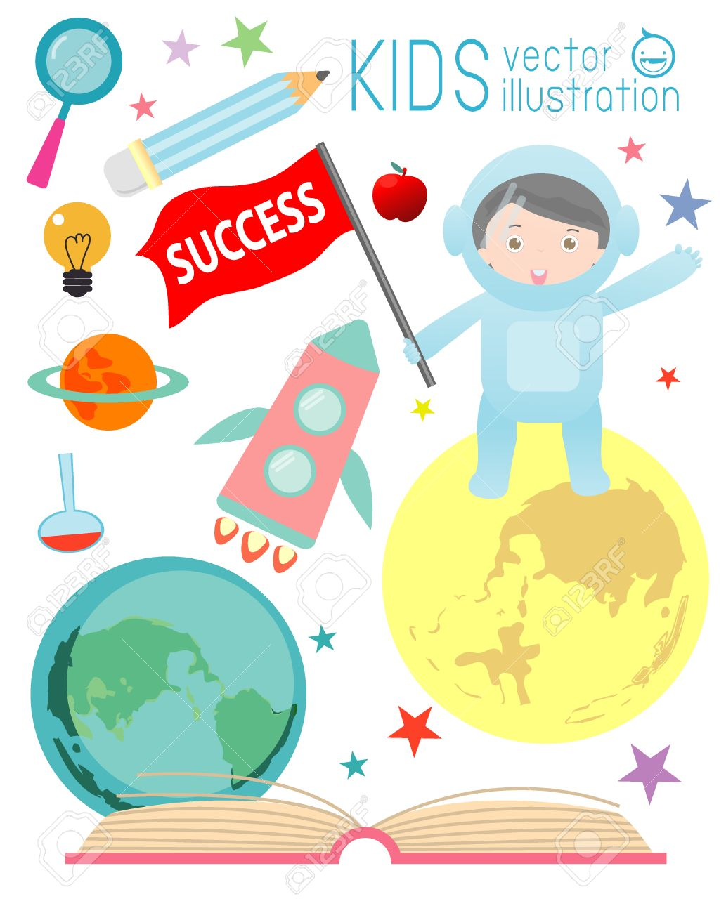 happy cartoon kids on space with rocket education spaceman