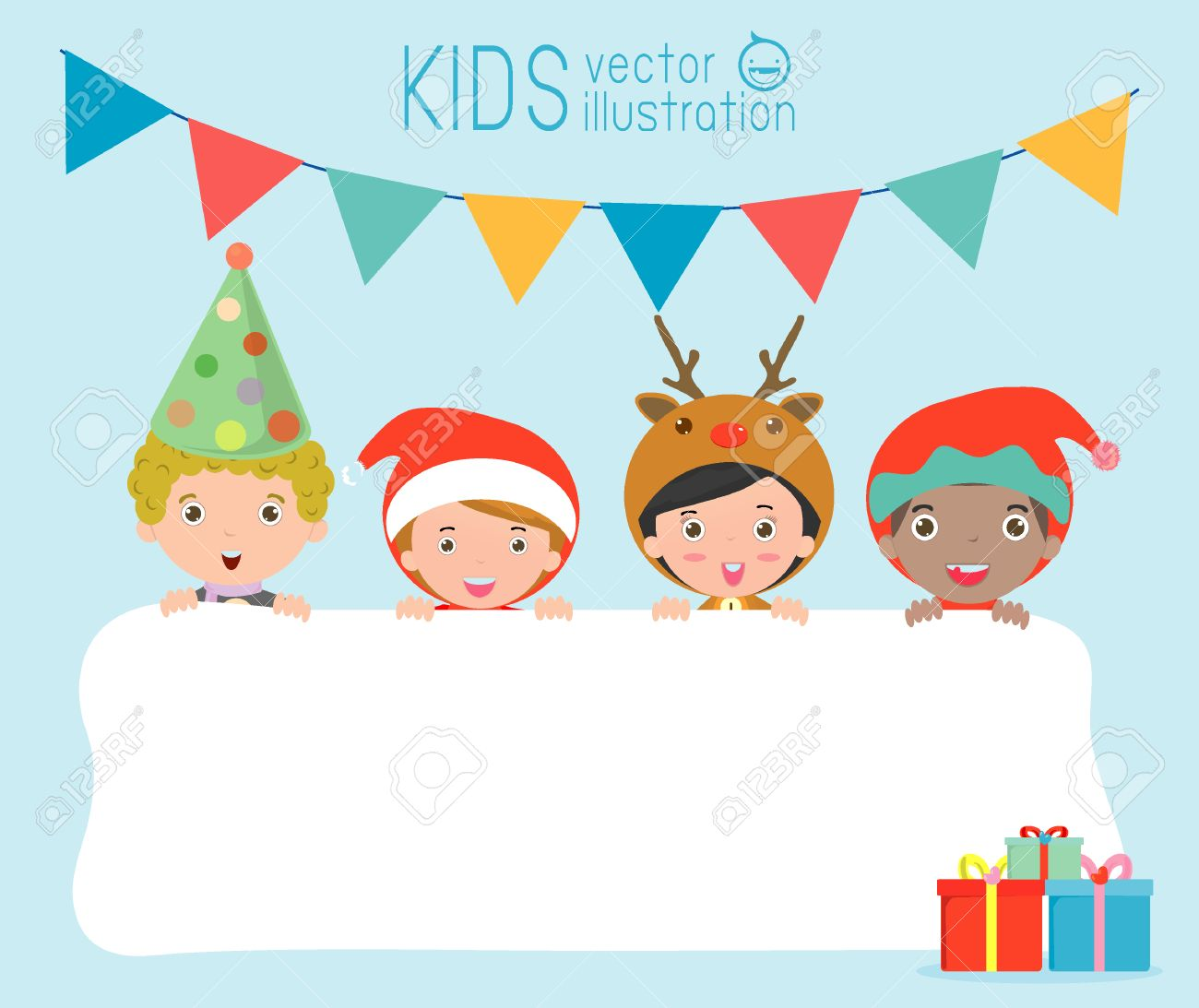 children and greeting christmas and new year card kids peeping behind placardkids in