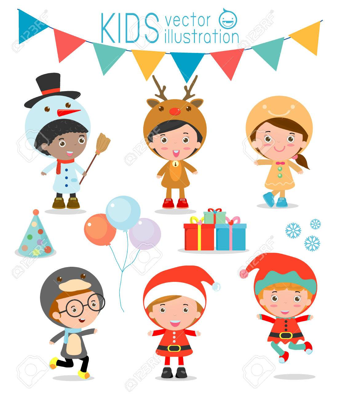 Kids With Christmas Costumes set, kids in Christmas costume characters celebrate, Cute little christmas Children's collection isolated on white background, christmas Children's,happy new year, Vector Illustration - 46691449