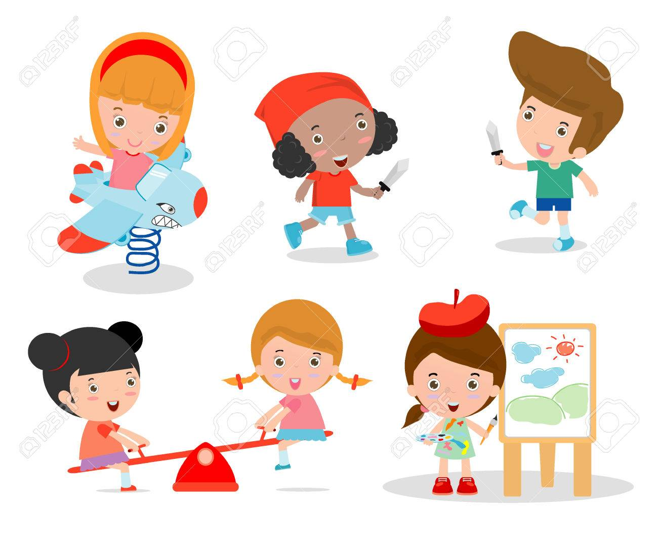cute children playing with toys in playground, children in the park, kids time isolated on white background, Vector Illustration. - 46691483