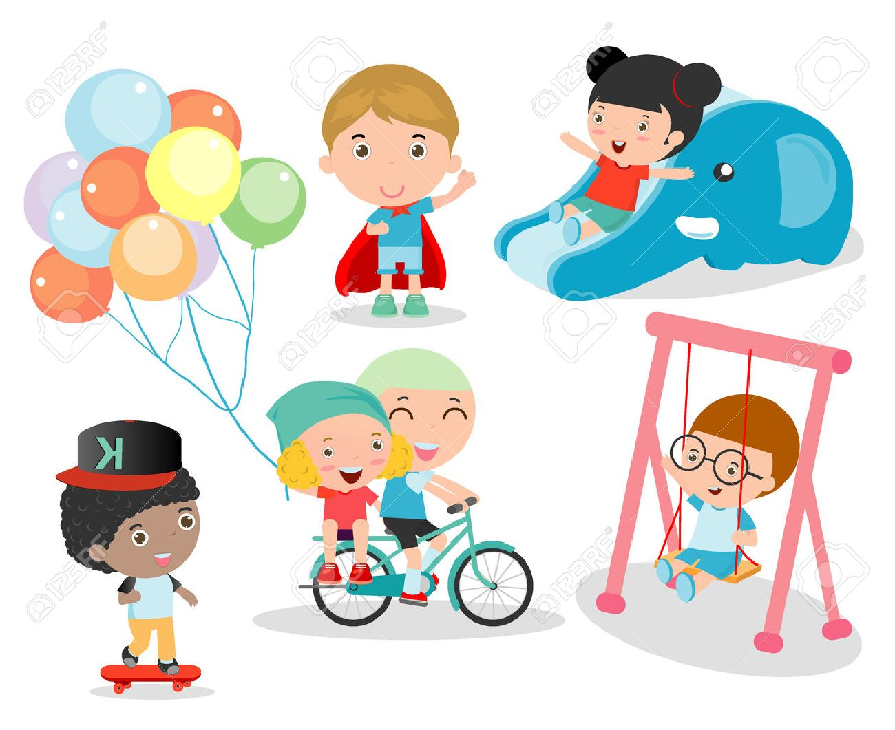 Compilation Of Kids Having Fun Outdoors Royalty Free Cliparts Vectors And Stock Illustration Image 46691484