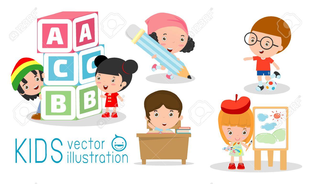 Felices Los Niños De Dibujos Animados En El Aula, Concepto De La ...