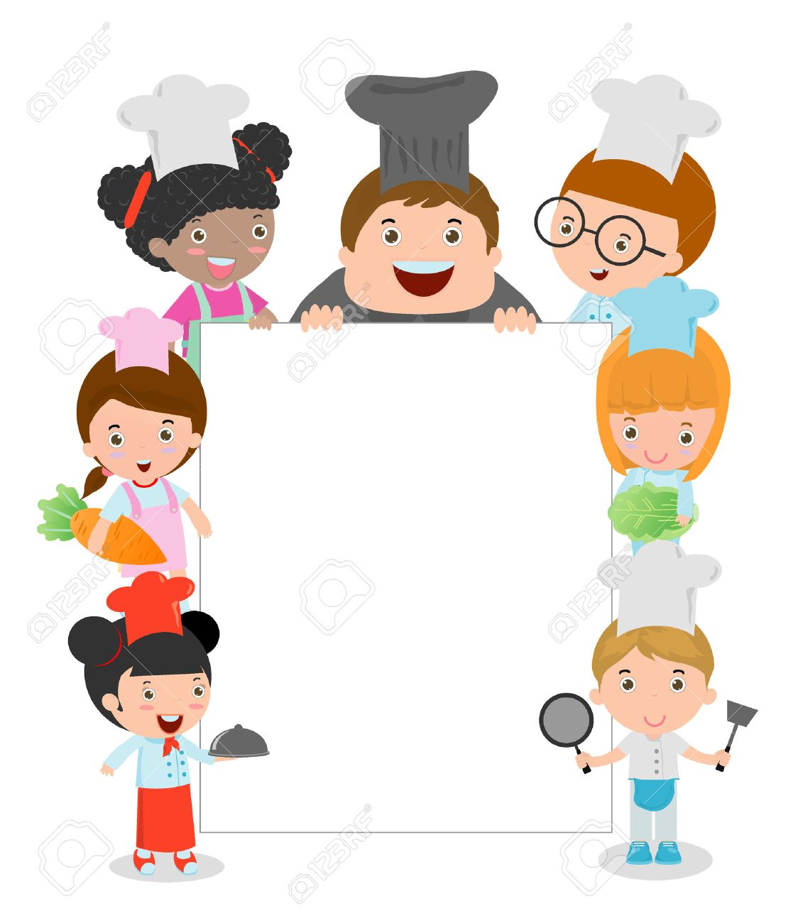 kids holding cooking surrounding a blank board kids chef peeping rh 123rf com